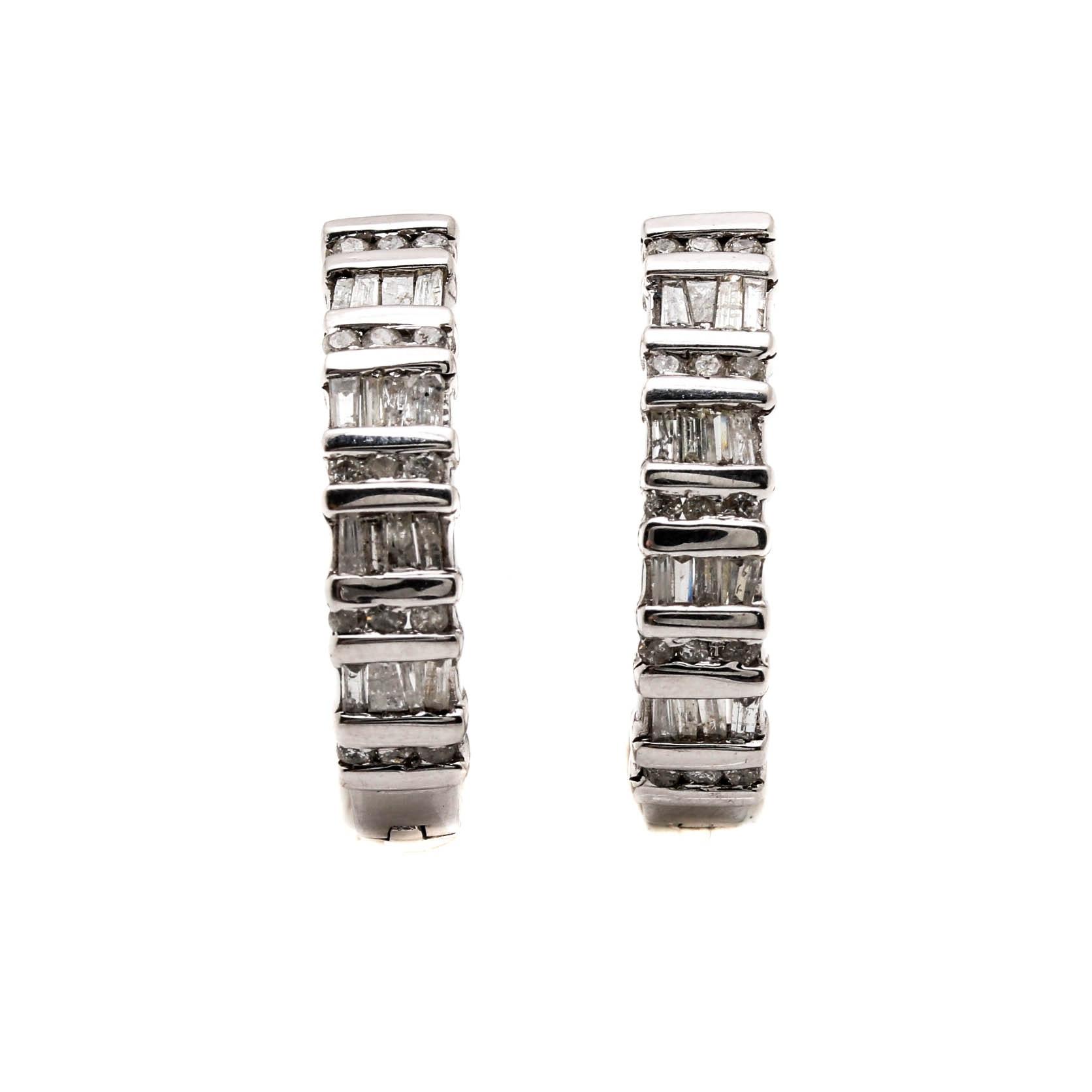 10K White Gold 1.09 CTW Diamond Huggie Earrings