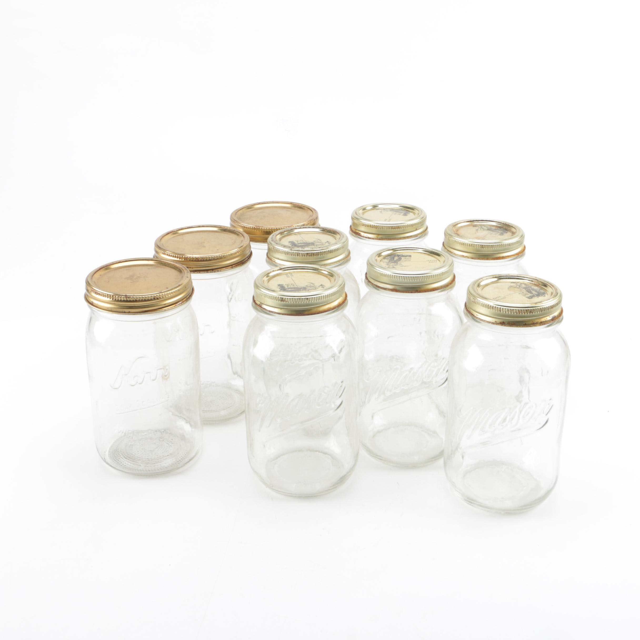 Collection of Kerr and Mason Canning Jars