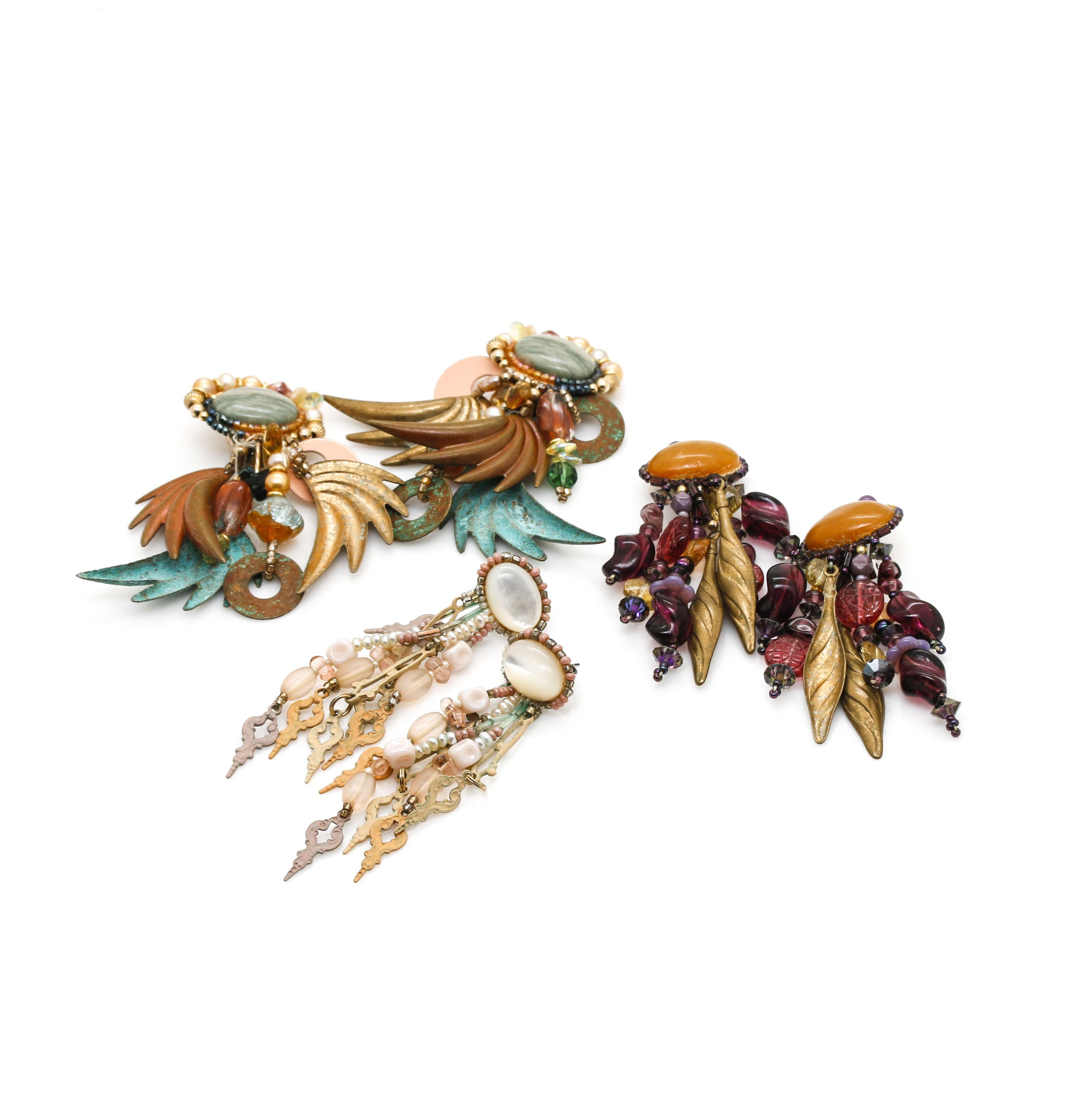 Gouping of Chipita Dangle Earrings Including Gemstones
