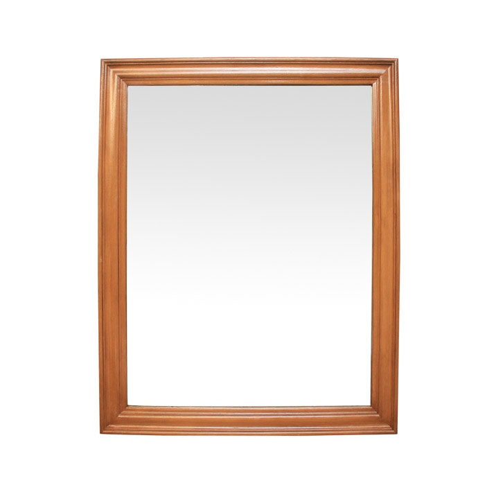 Square Wall Mirror with Wood Frame