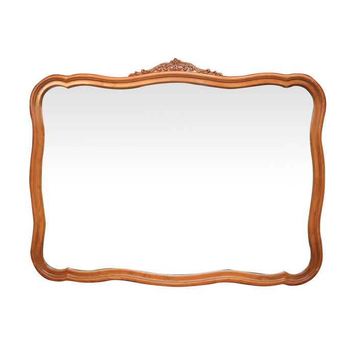 Rectangular Wall Mirror with Carved Wood Frame