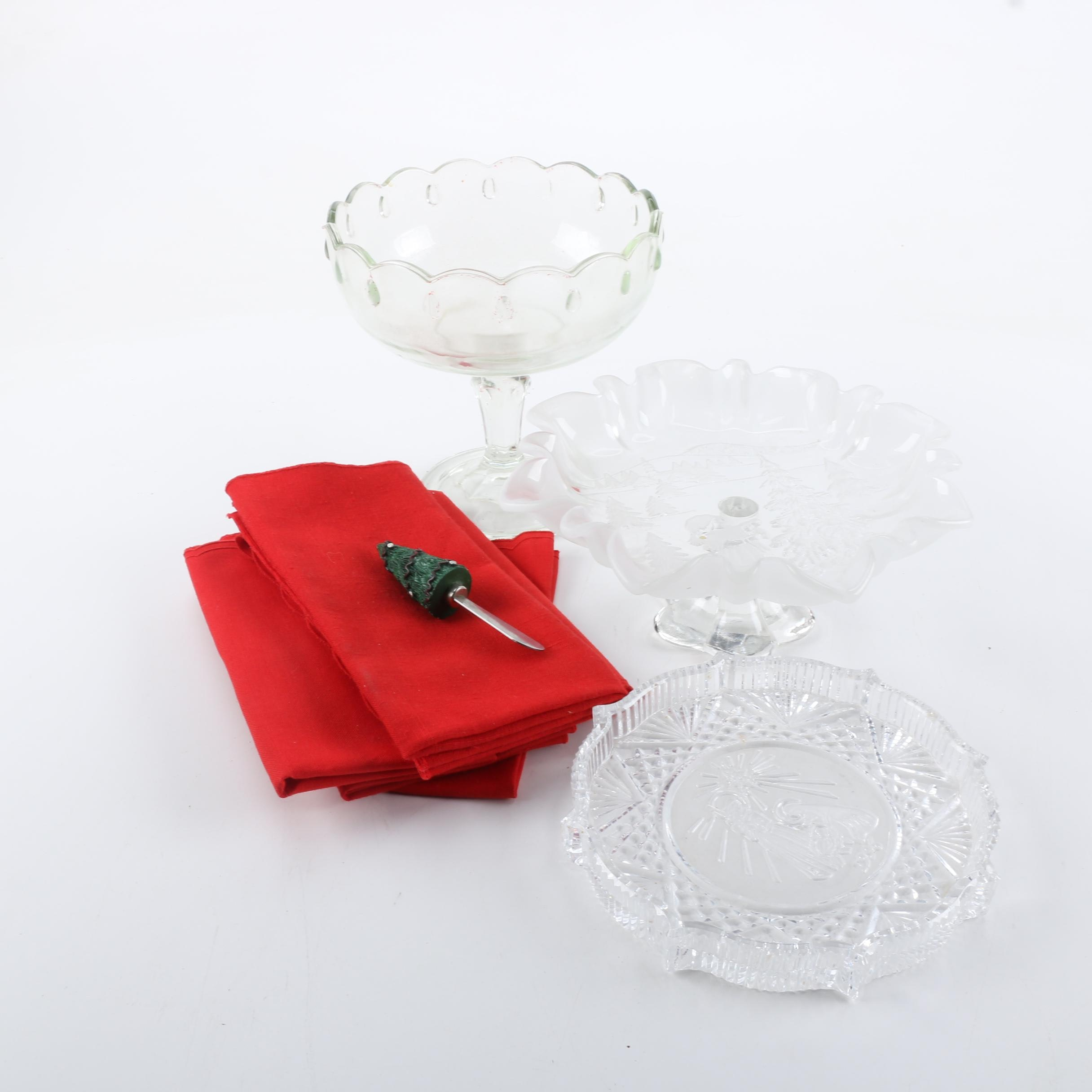 Seasonal Glass Candy Dishes and Cloth Napkins