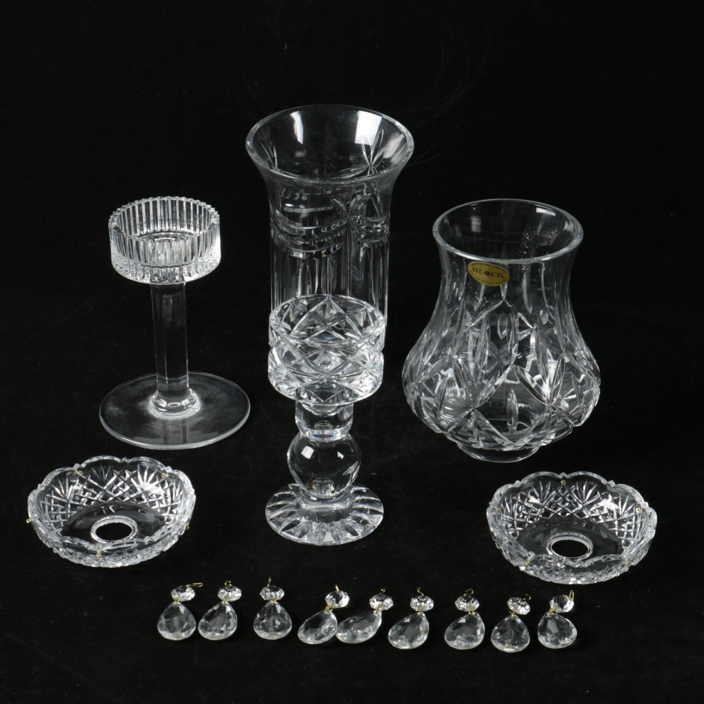 Crystal Candleholders with Shades including Block