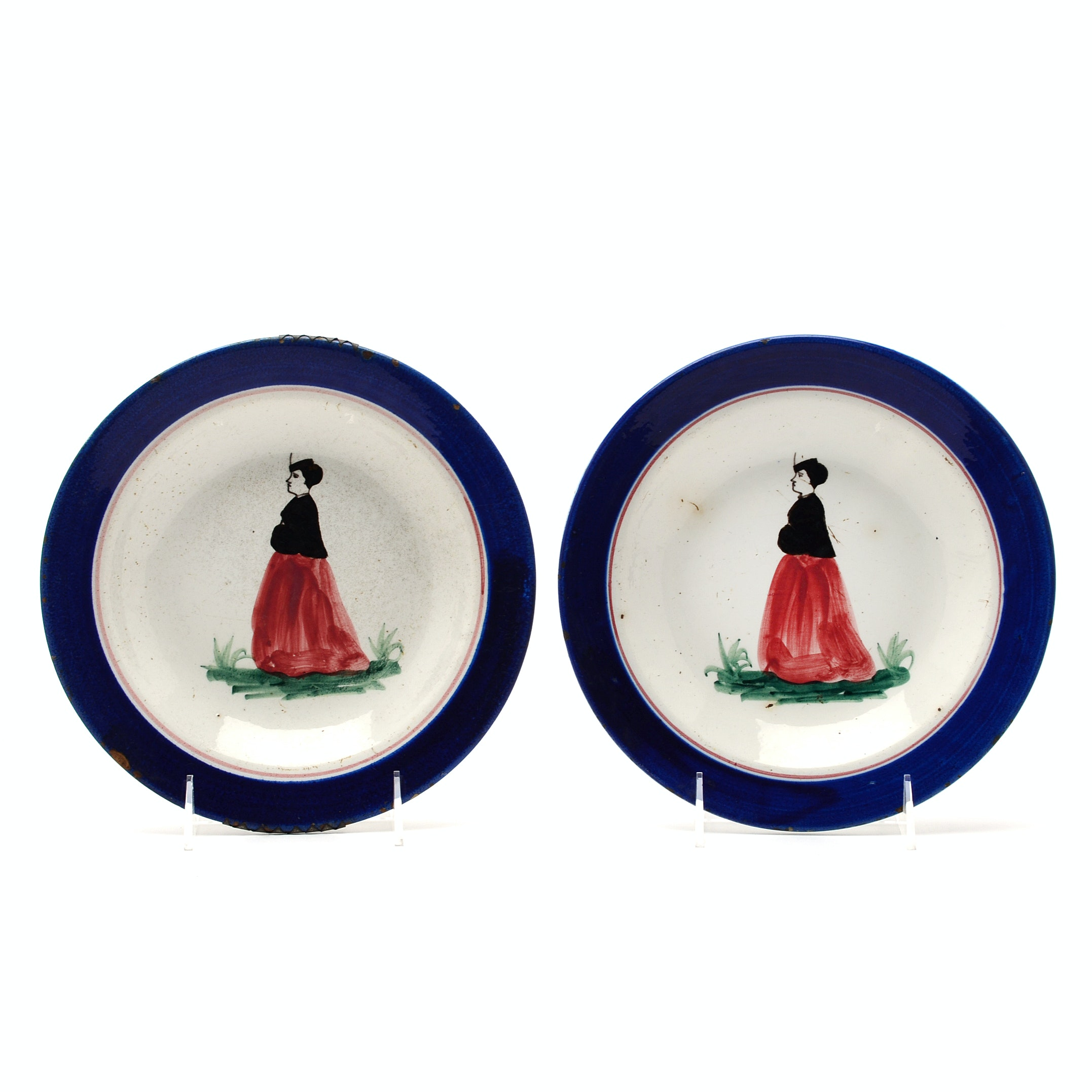Matching French Hand-Painted Faïence Plates
