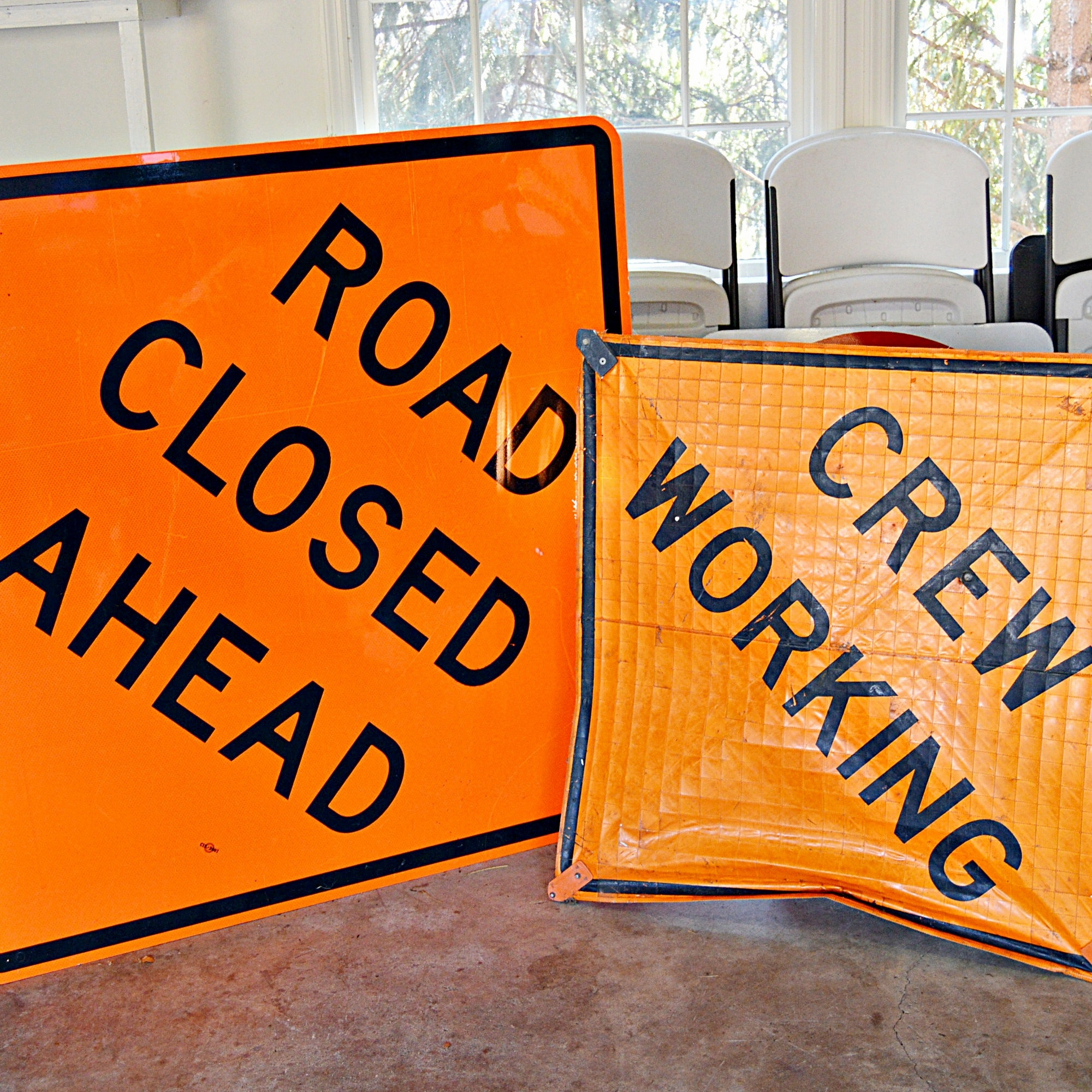 Enameled Metal and Vinyl Road Construction Signs