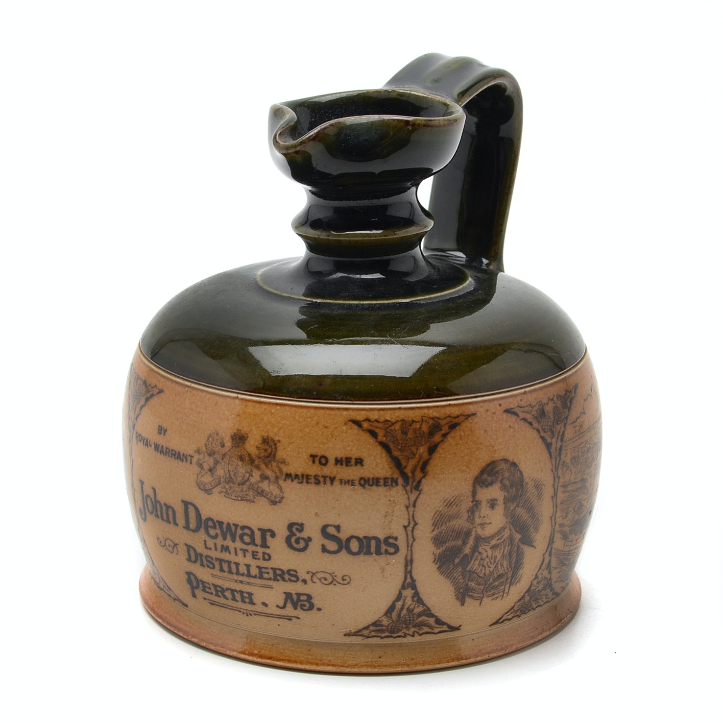 Antique John Dewar and Sons Perth NB Stoneware Advertising Whiskey Jug