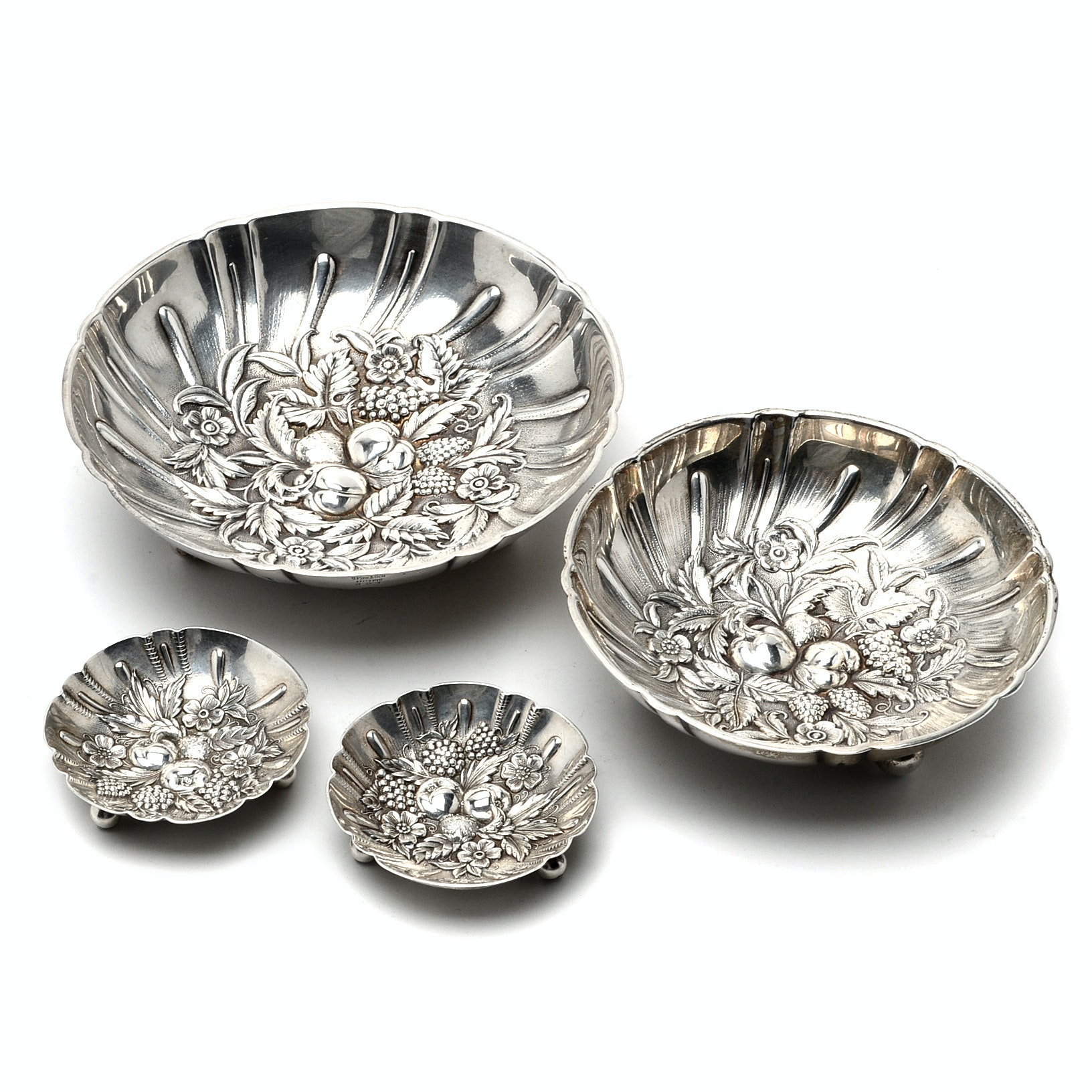 S. Kirk & Son Sterling Silver Repoussé Footed Nut Bowls