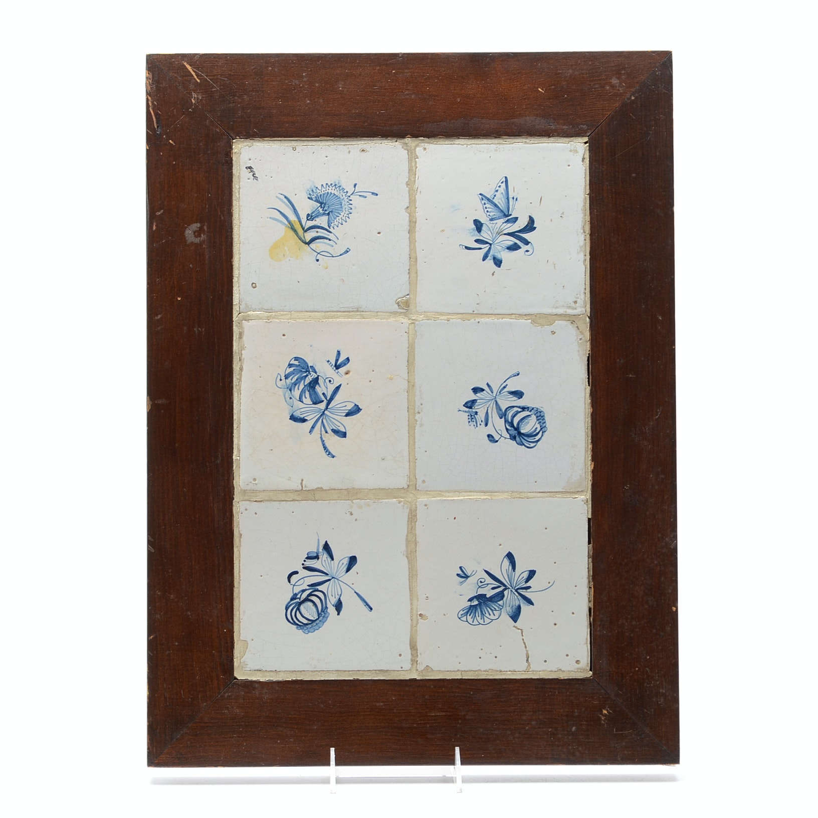 Antique Faïence Hand-Painted Floral Tile Composition