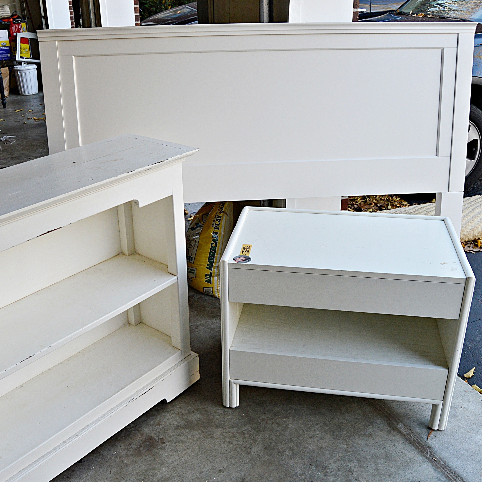Pottery Barn White Painted Bed Headboard, Bookcase and Side Table