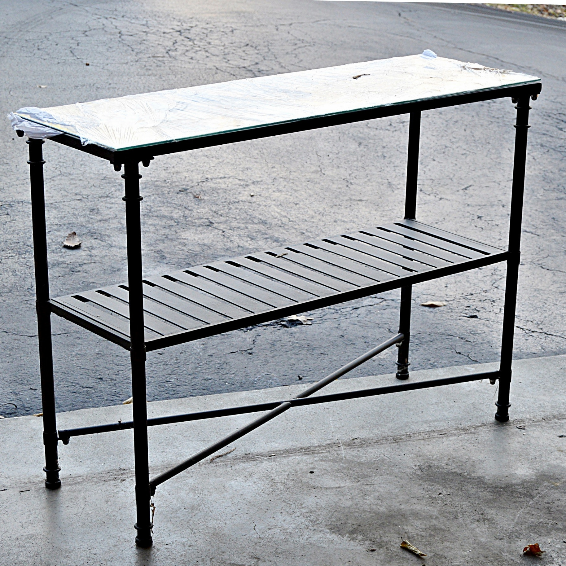 Neoclassic Style Dark Metal Console Table