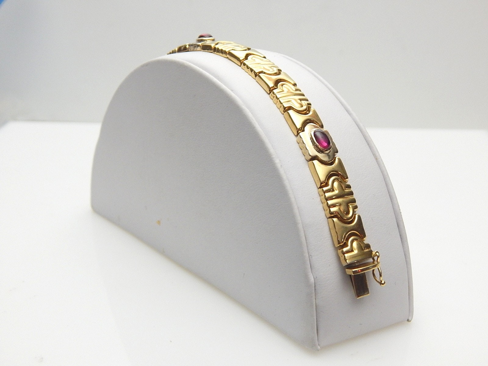 18K Yellow Gold Link Bracelet with Rubies