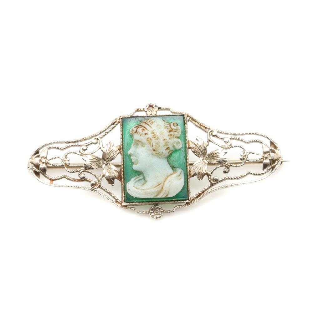 14K Yellow Gold Green Chalcedony Cameo Brooch