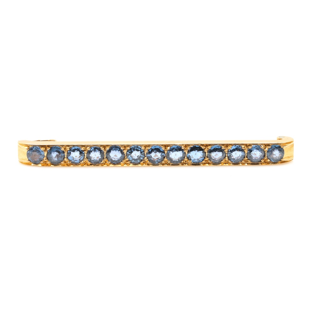 18K Yellow Gold Untreated 3.90 CTW Sapphire Brooch with 14K Stem