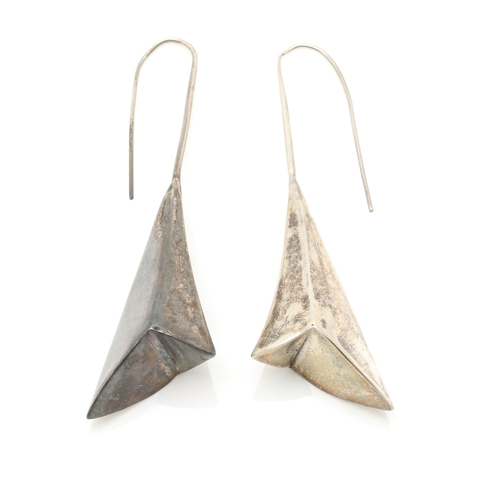 Sterling Silver Modernist Style Drop Earrings
