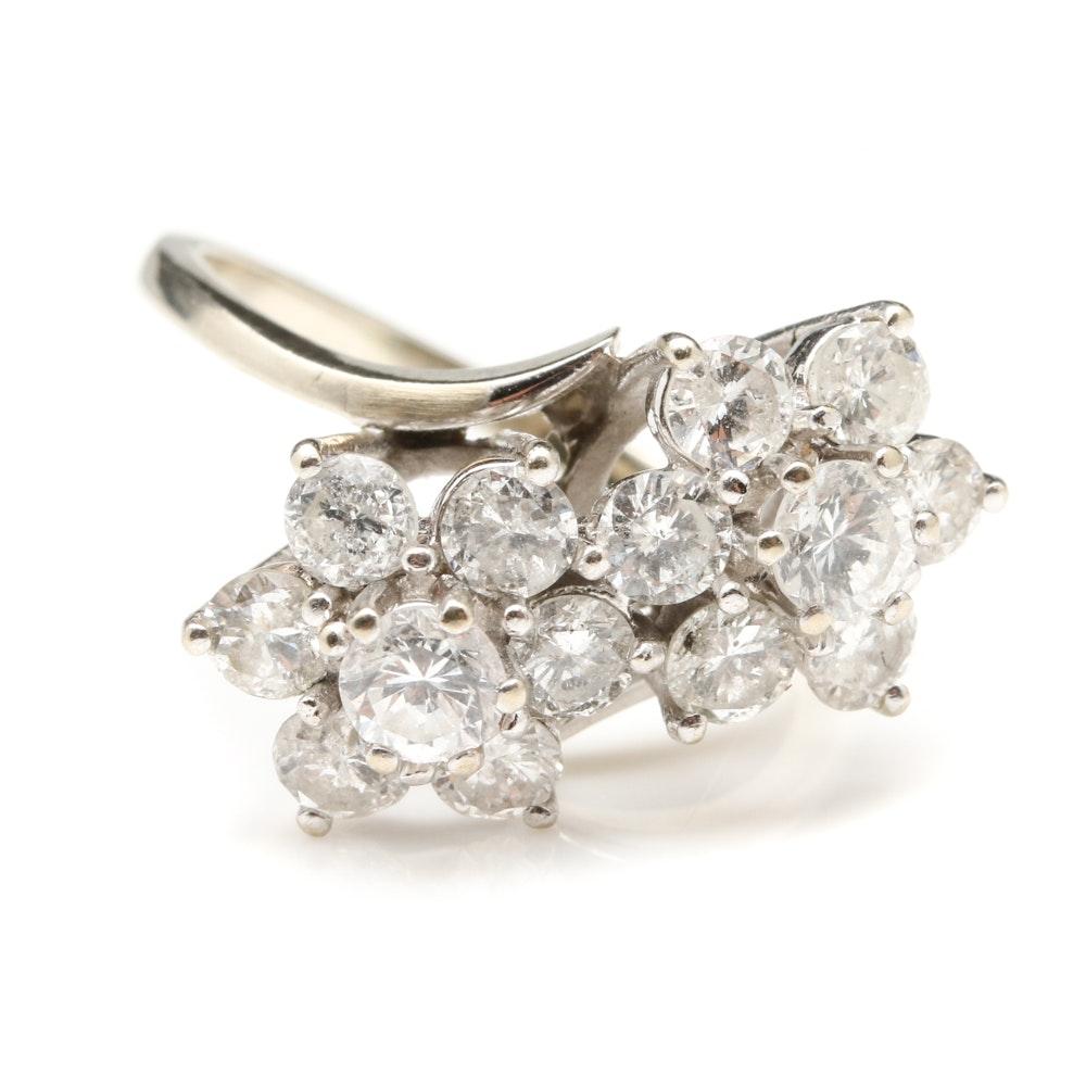 14K White Gold 1.88 CTW Diamond Bypass Ring