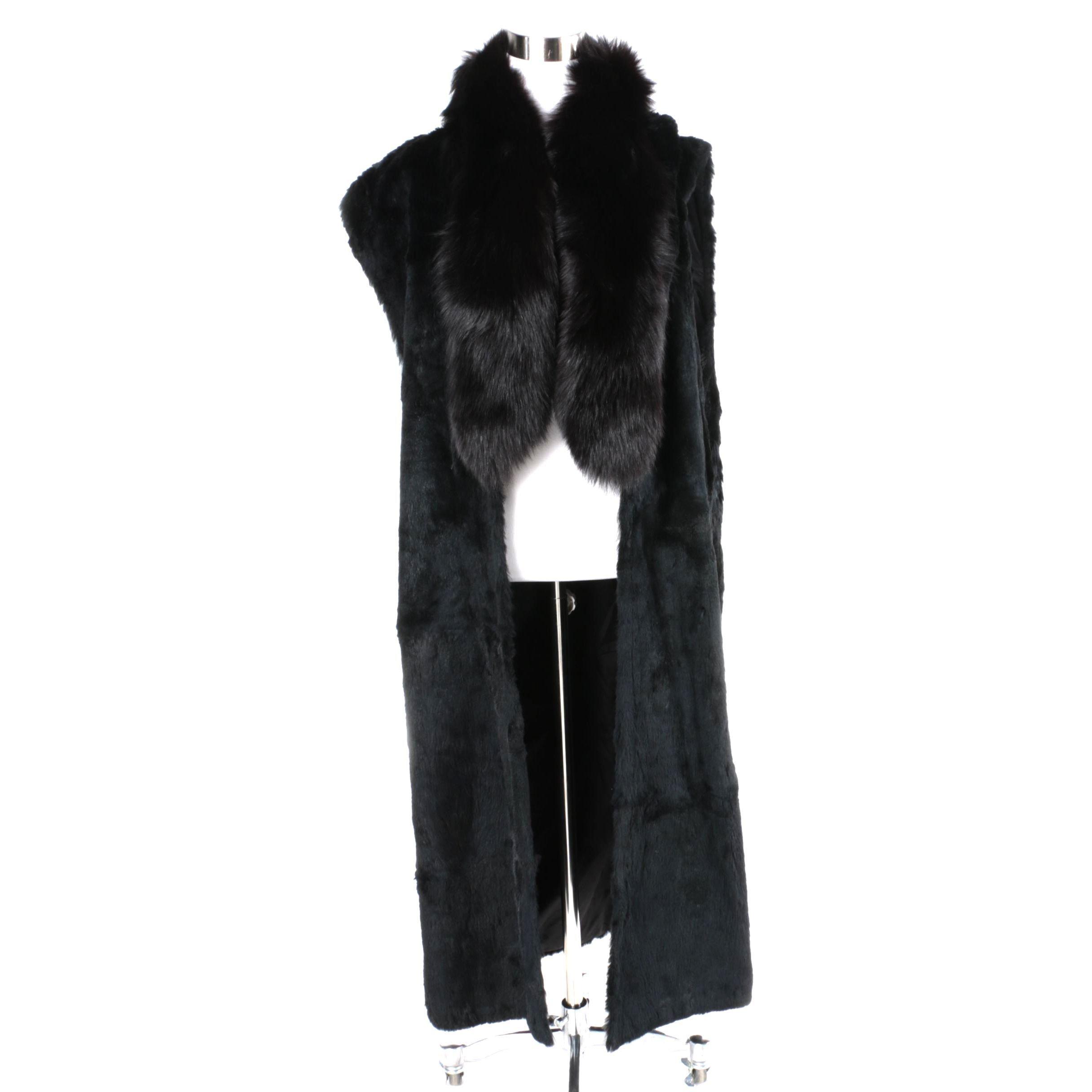 Sheared Beaver Fur Coat Liner with Fox Fur Collar