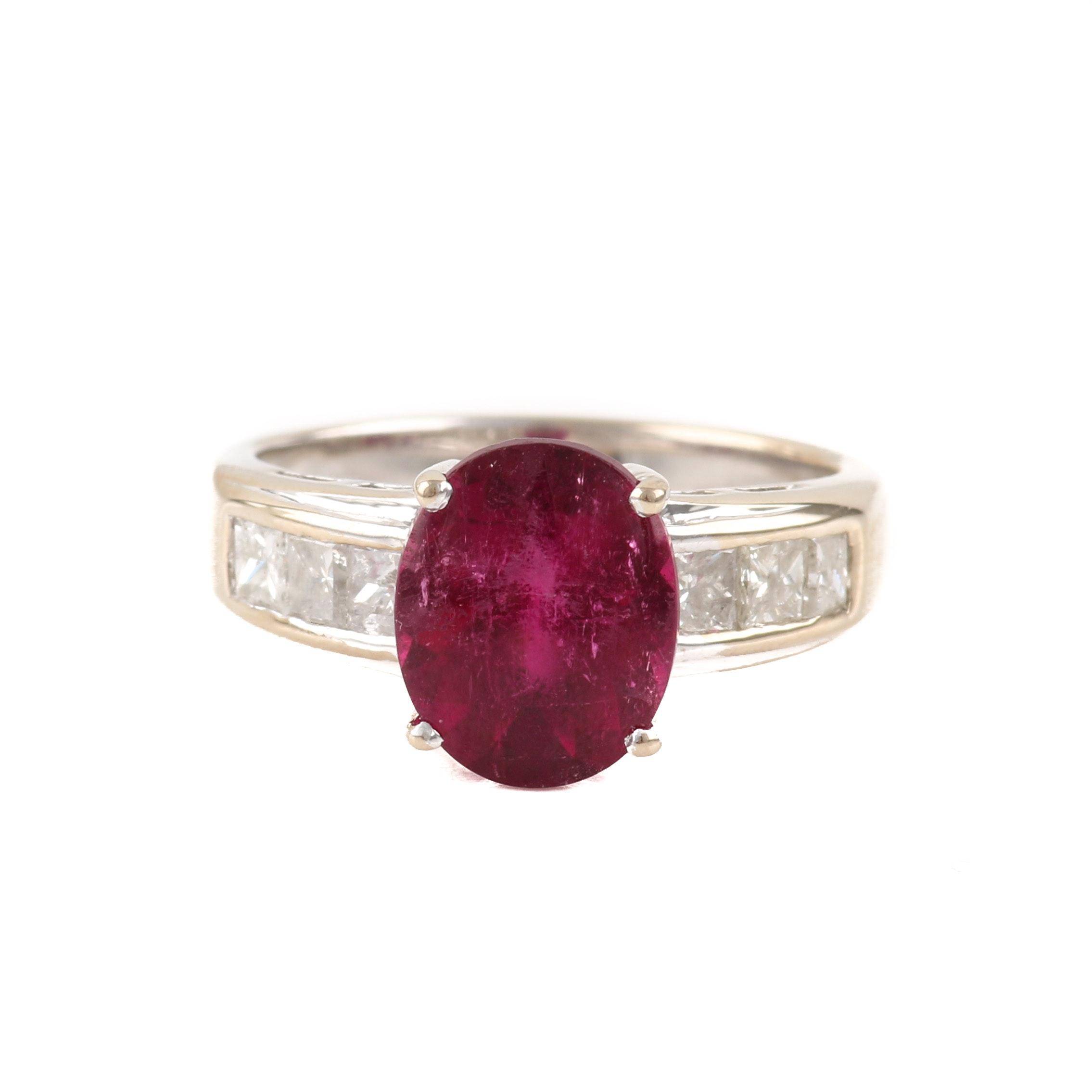 18K Yellow Gold 3.22 CT Pink Tourmaline and Diamond Ring