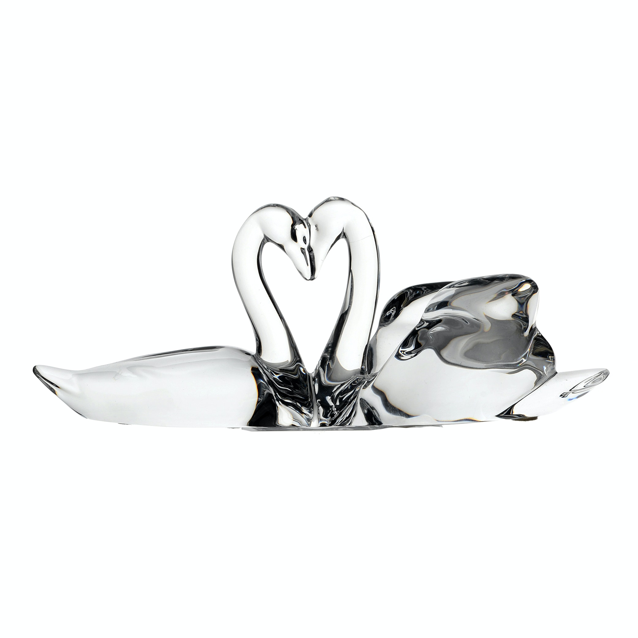 Baccarat Crystal Two Swans Heart Figurine