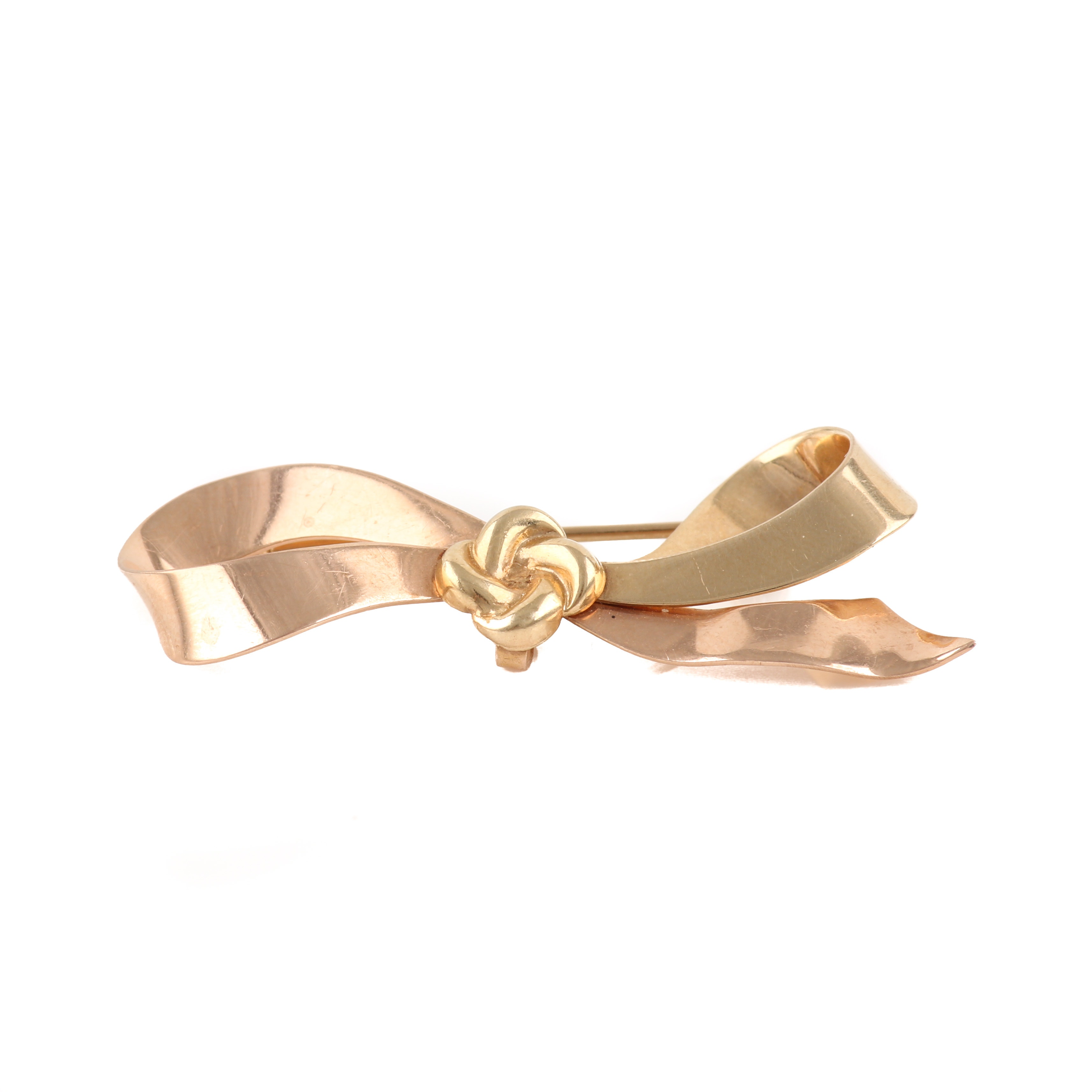 14K Yellow and Rose Gold Bow Brooch