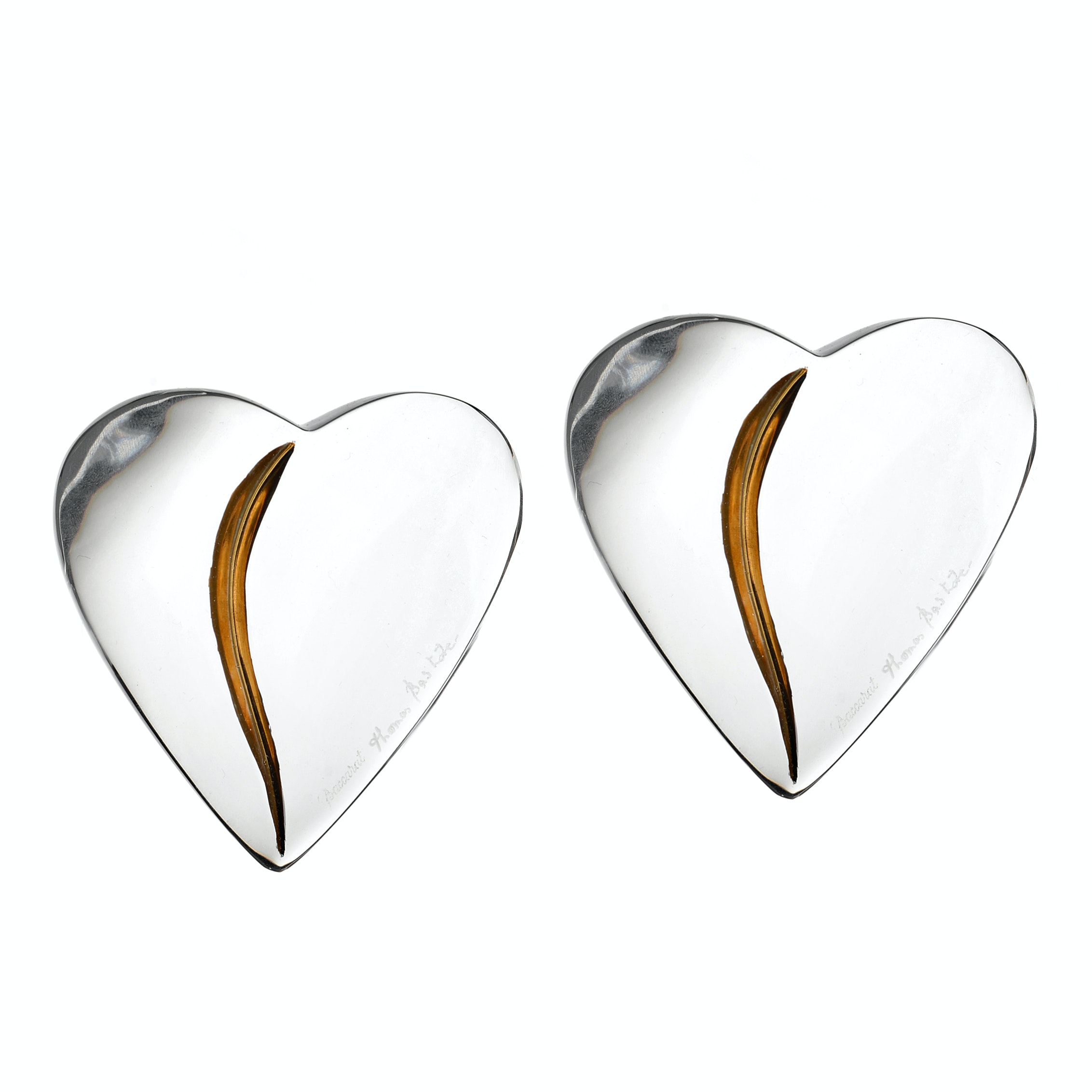 "Pair of Baccarat Crystal ""Heart of Passion"" Paperweights with 18K Gold Leaf"