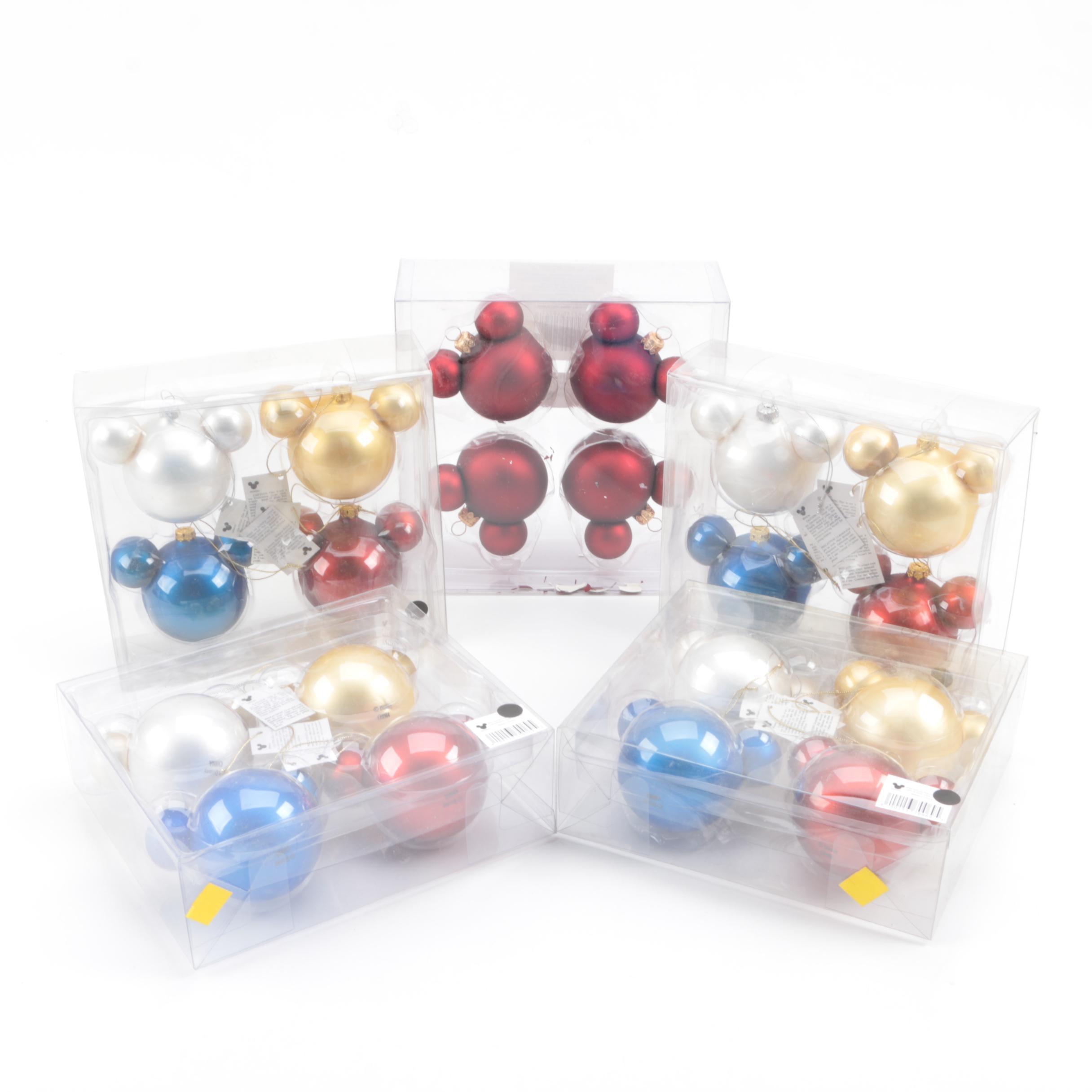 "Walt Disney ""Mickey Mouse"" Glass Ornaments"