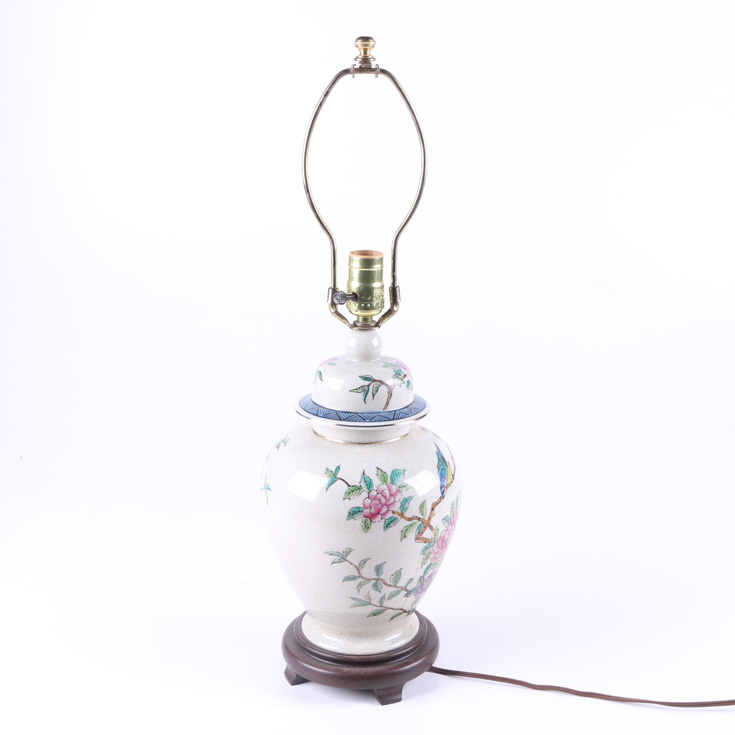 Ceramic Floral Urn Table Lamp