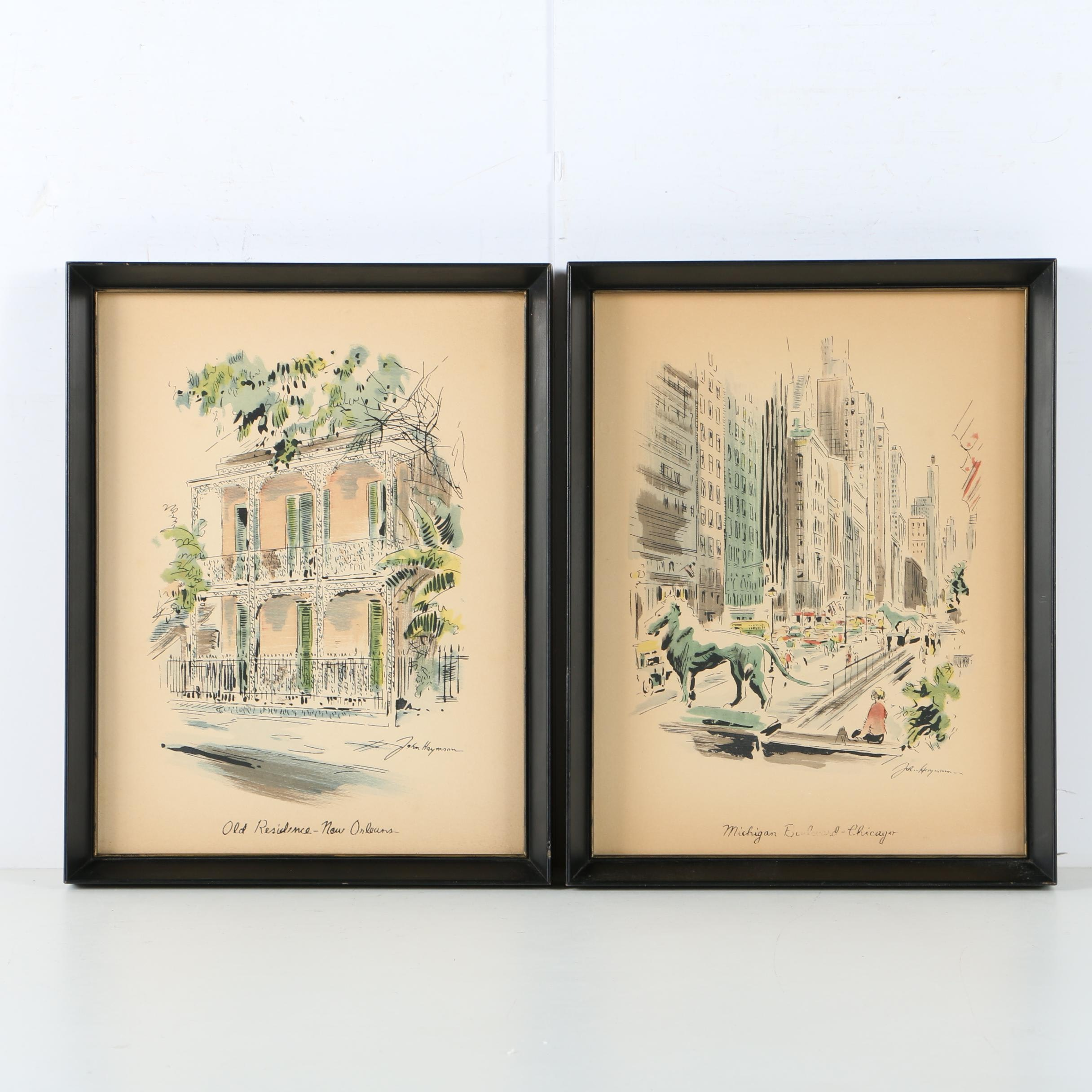 Hand Colored Serigraphs after John Haymson of City Street Scenes