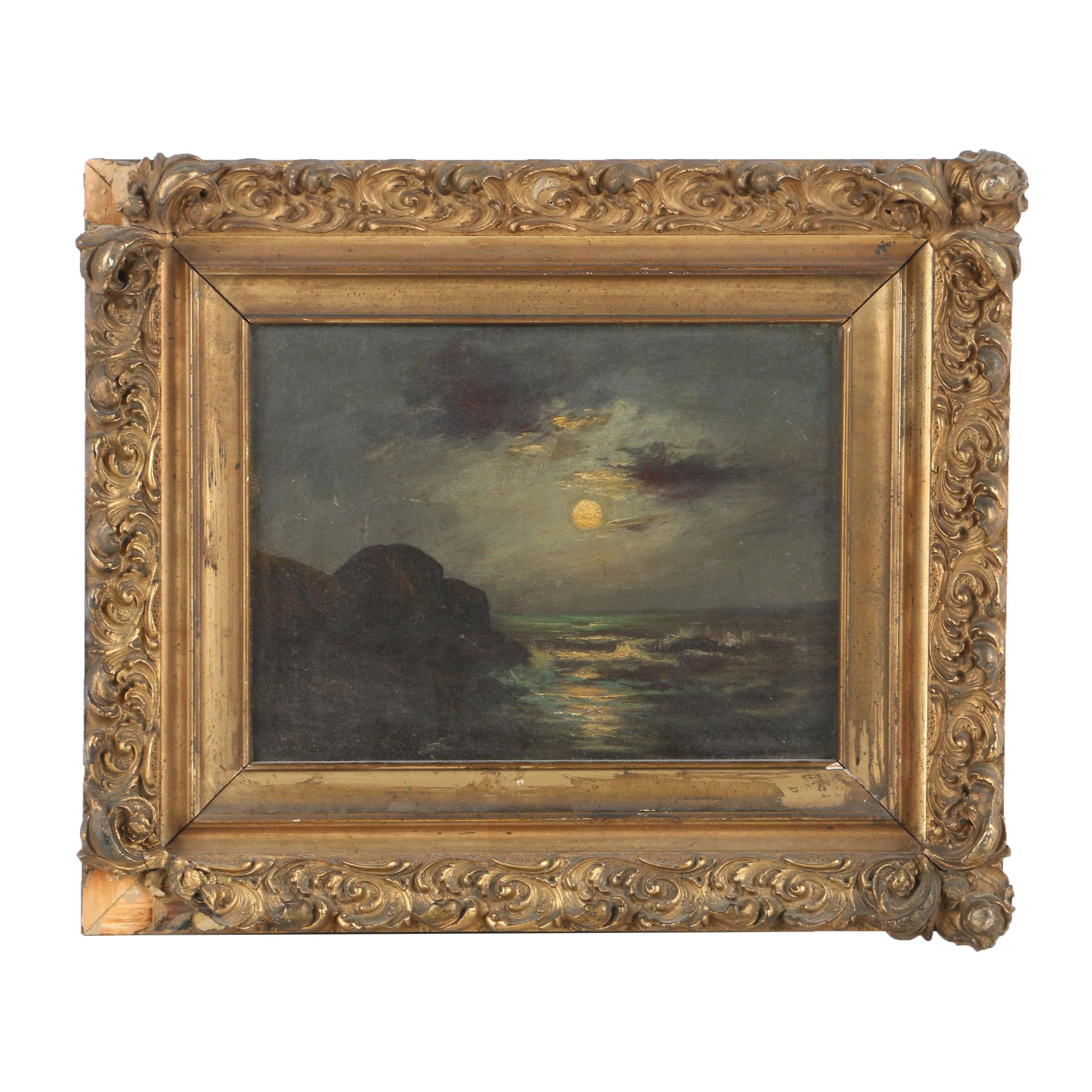 Antique Nocturne Seascape Oil Painting on Canvas