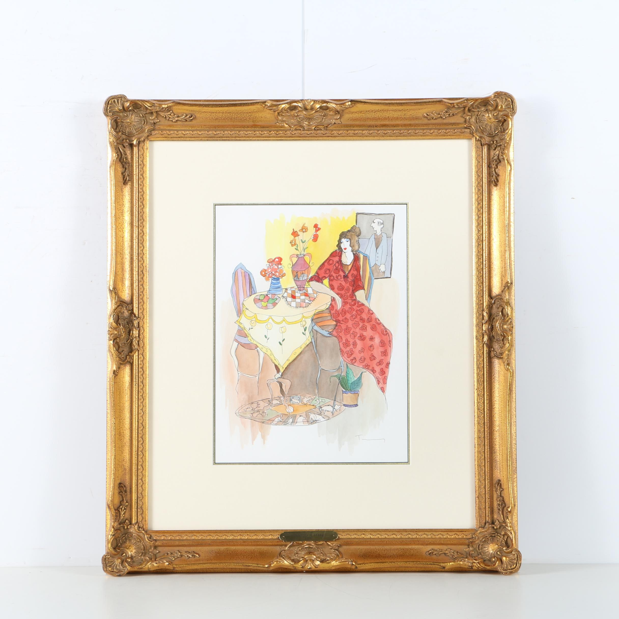 Itzchak Tarkay Lithograph Print with Watercolor Embellishments