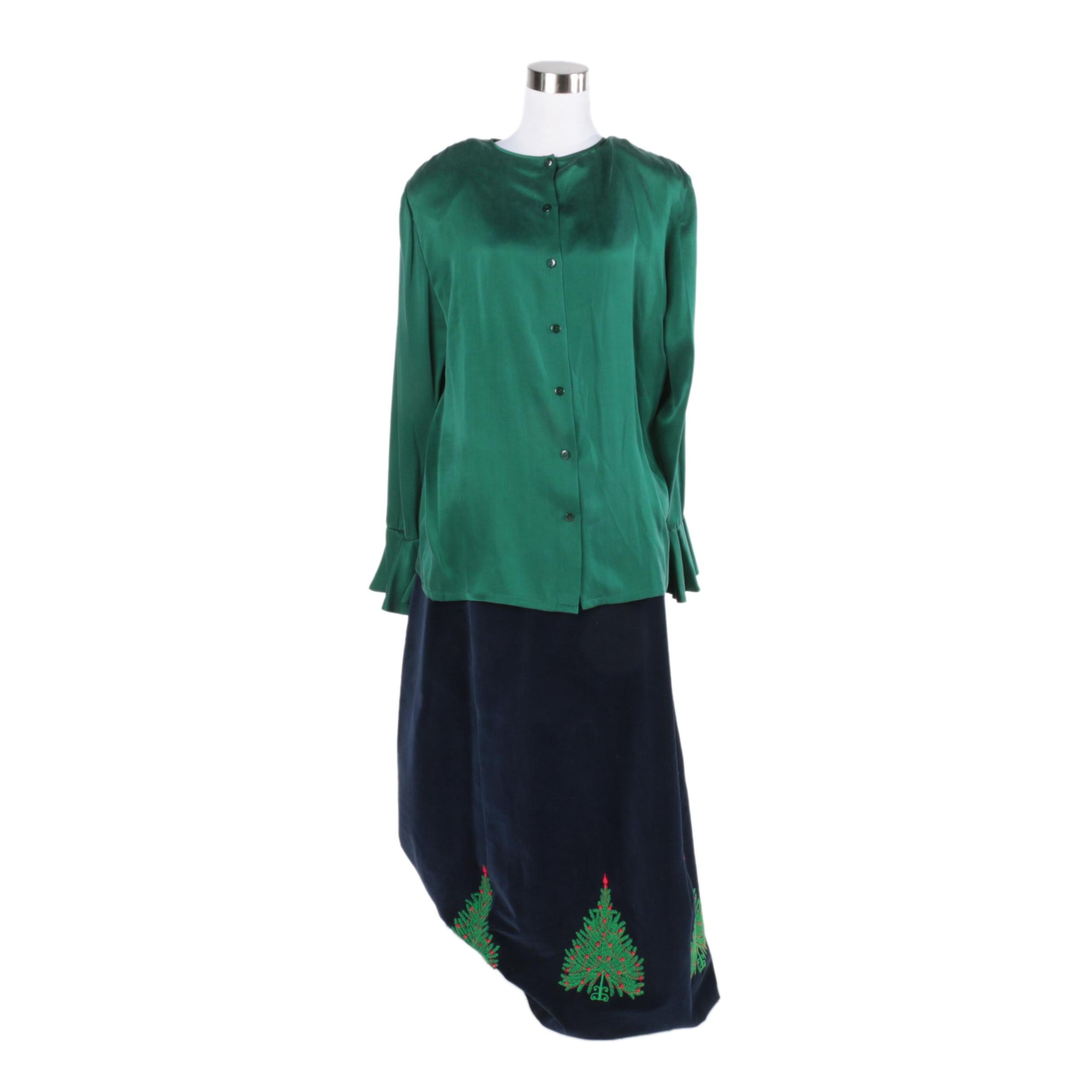 Dana Buchman Silk Blouse and Velveteen Skirt