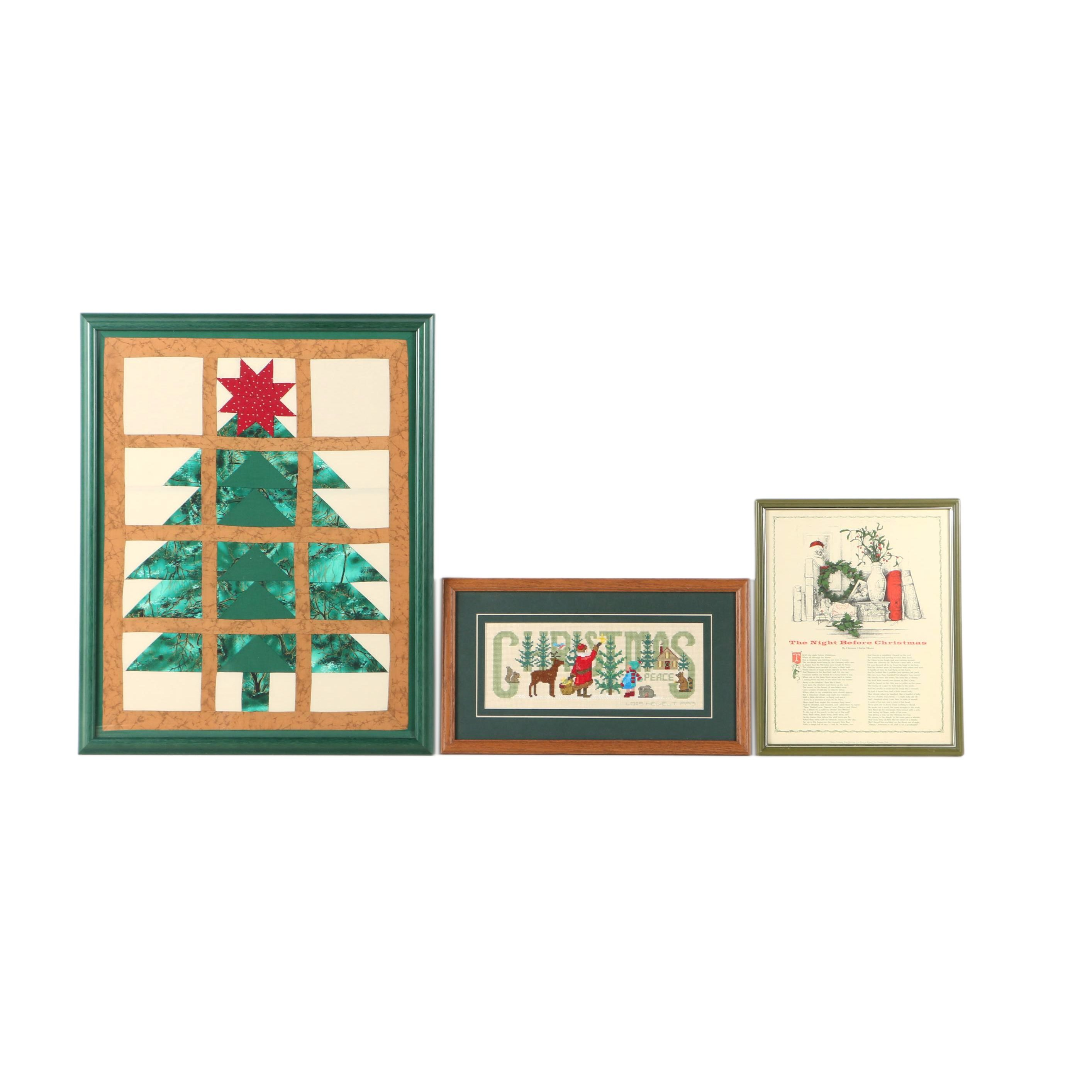 """Christmas Themed Quilt, Cross Stitch and Print of """"The Night Before Christmas"""""""