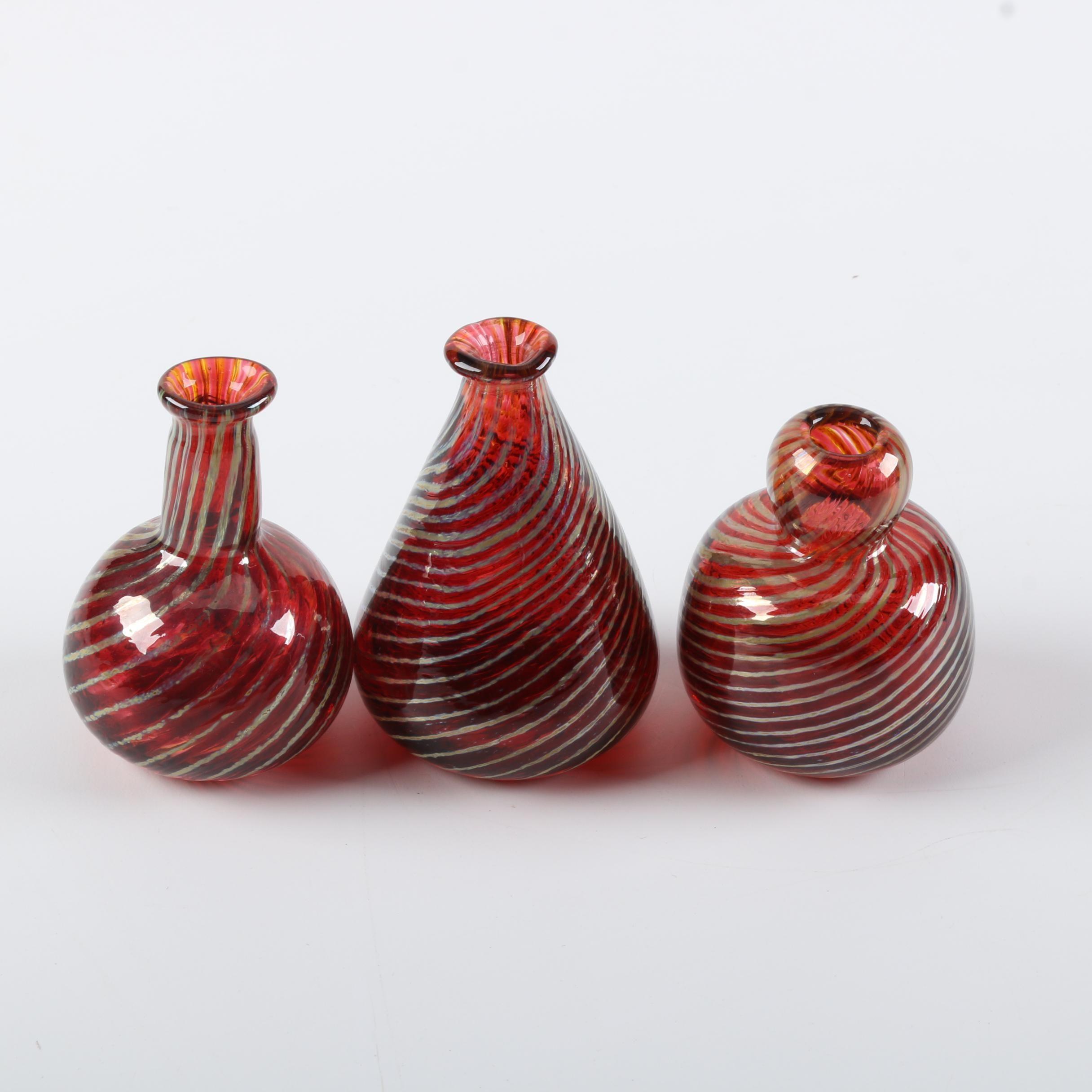 Signed Art Glass Bud Vases