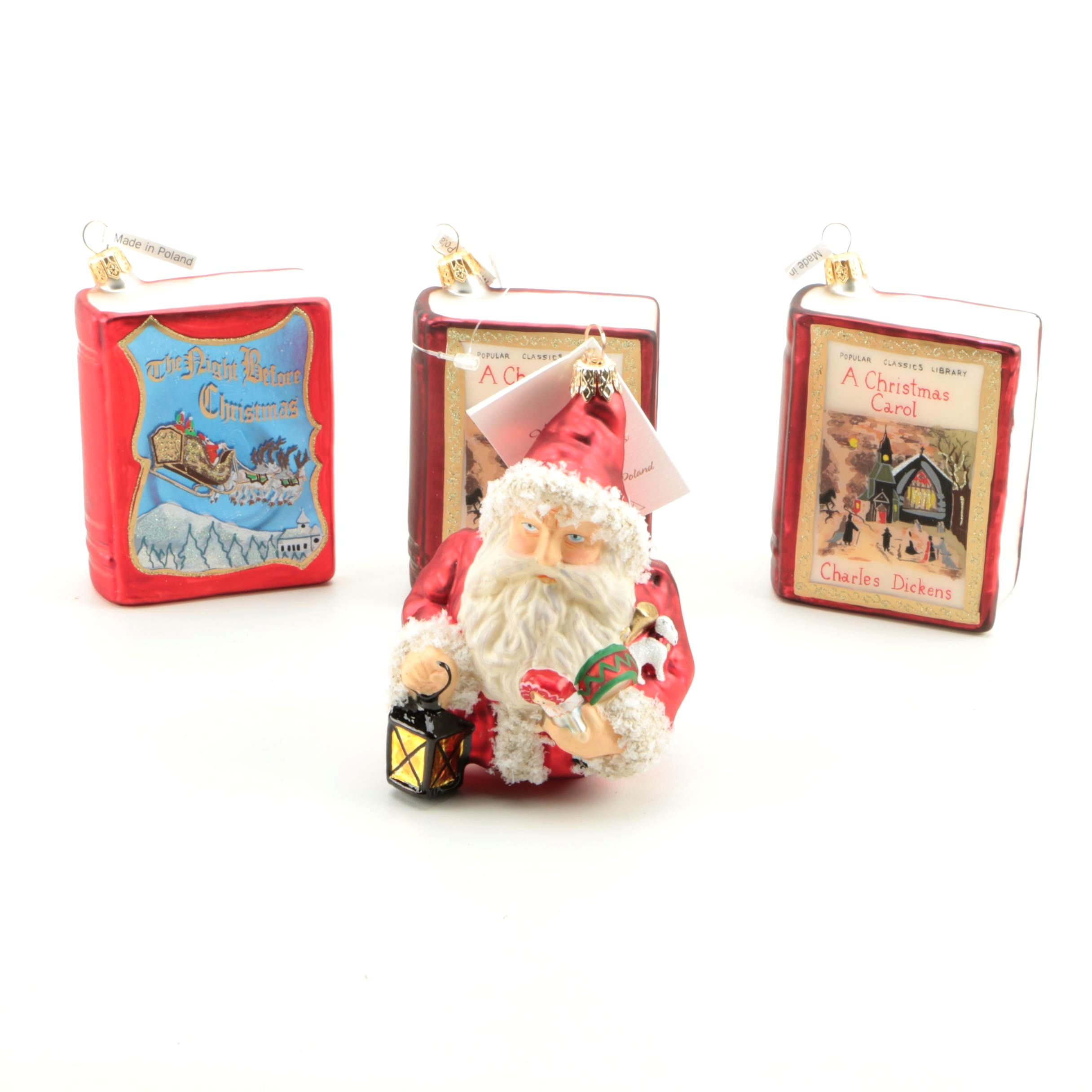 Holiday Ornaments Including Book Themed Ornaments