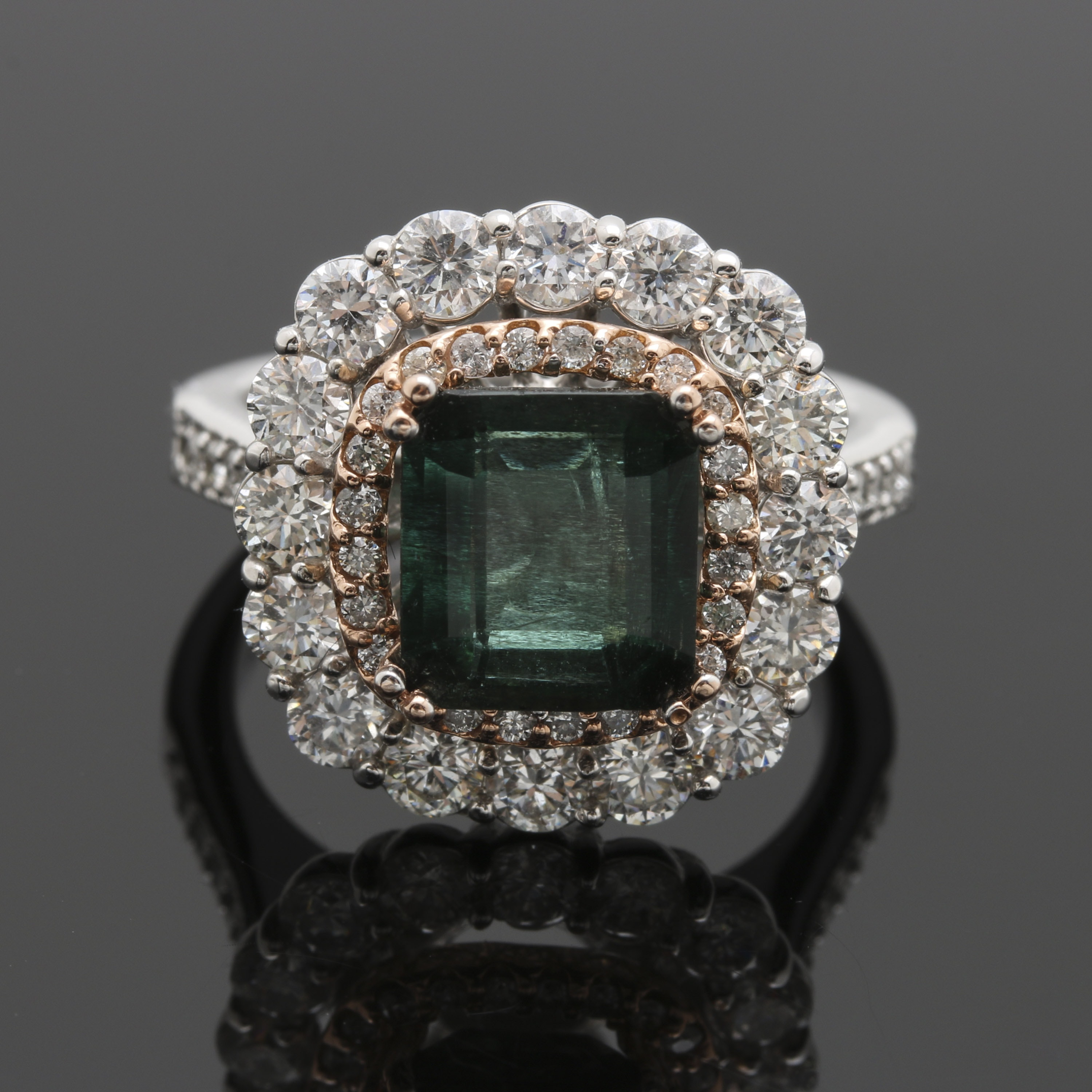 14K White and Rose Gold 2.38 CT Emerald and 2.01 CTW Diamond Ring