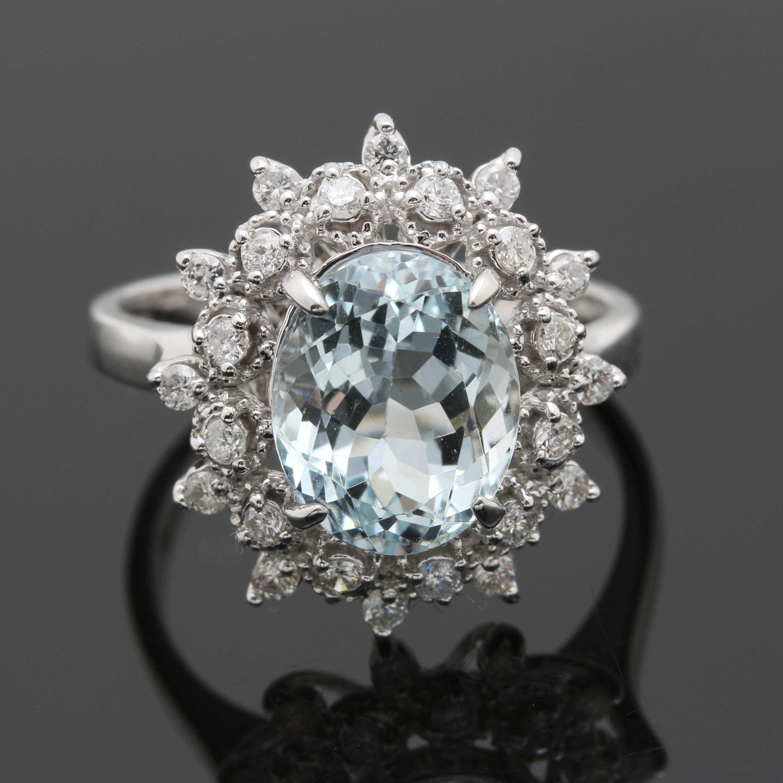 14K White Gold 2.70 CT Aquamarine and Diamond Ring