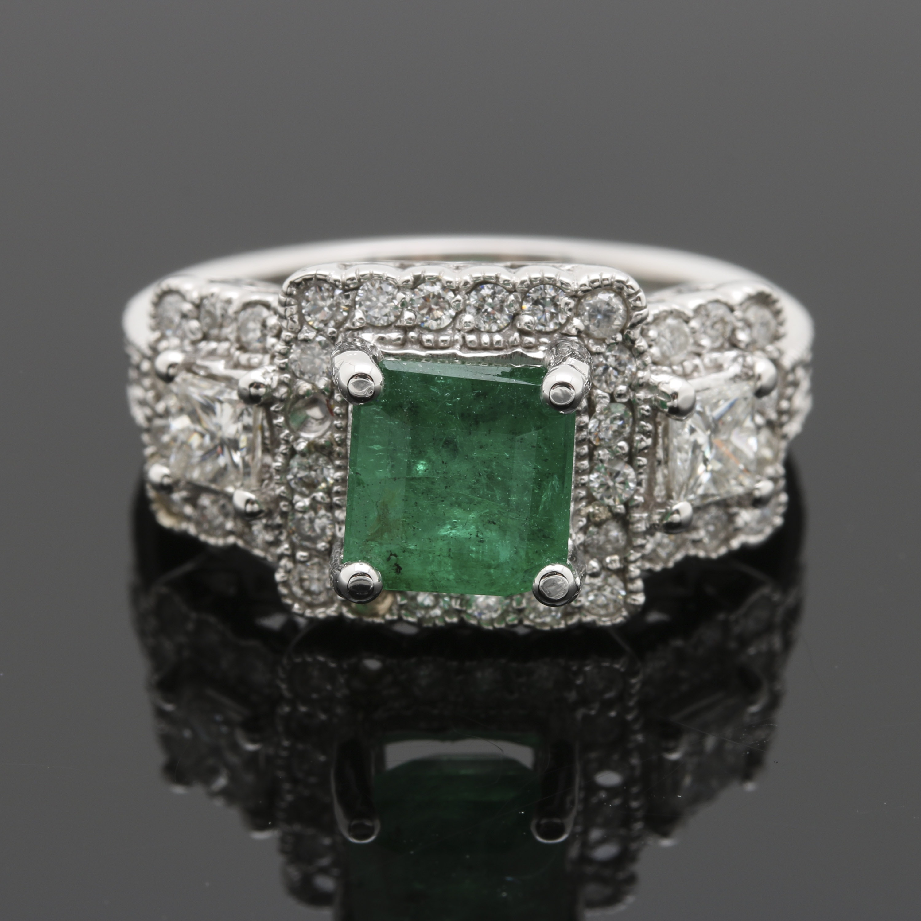 14K White Gold Emerald and 1.13 CTW Diamond Ring
