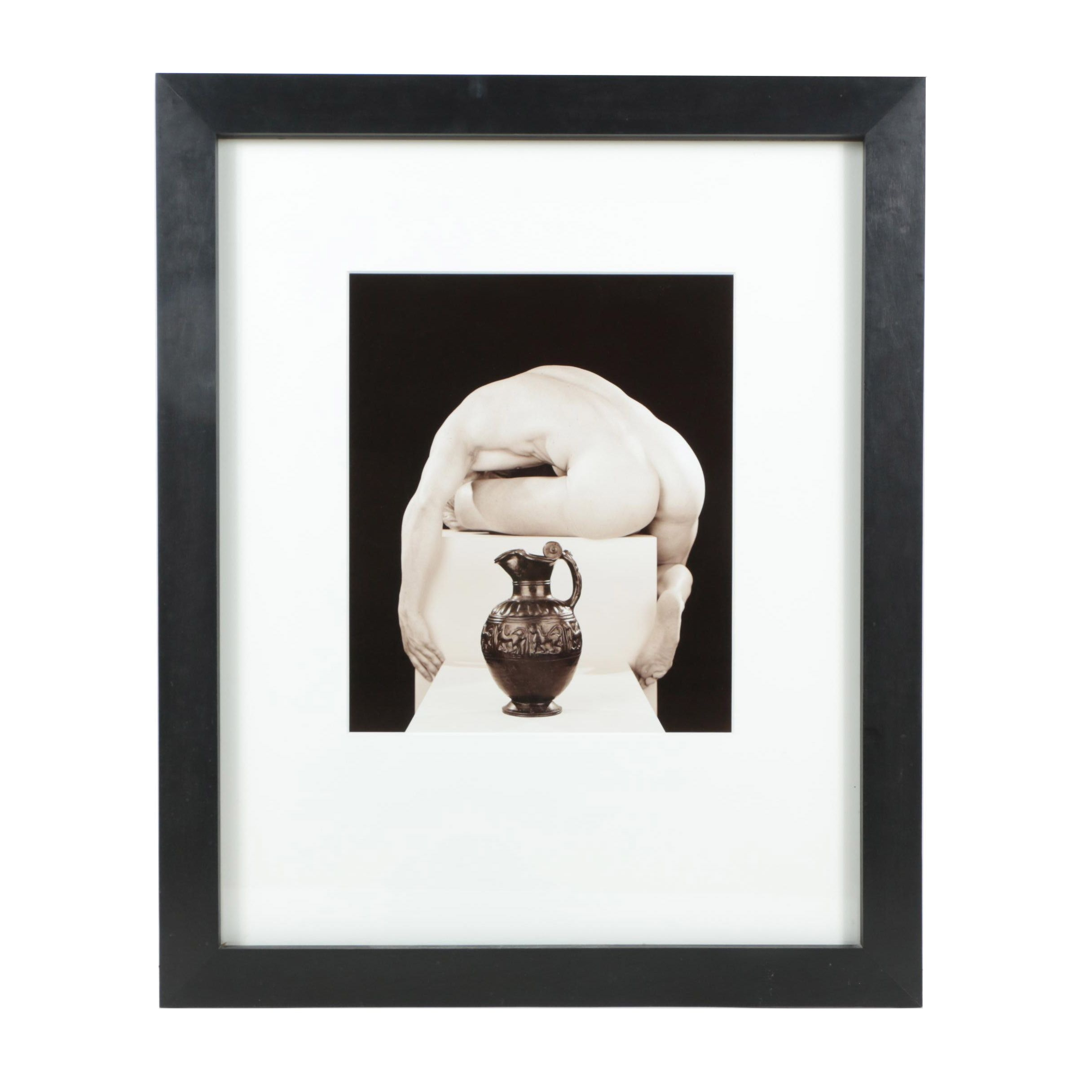 Len Prince Gelatin-Silver Photograph Contorted Male Nude Figure With Vase
