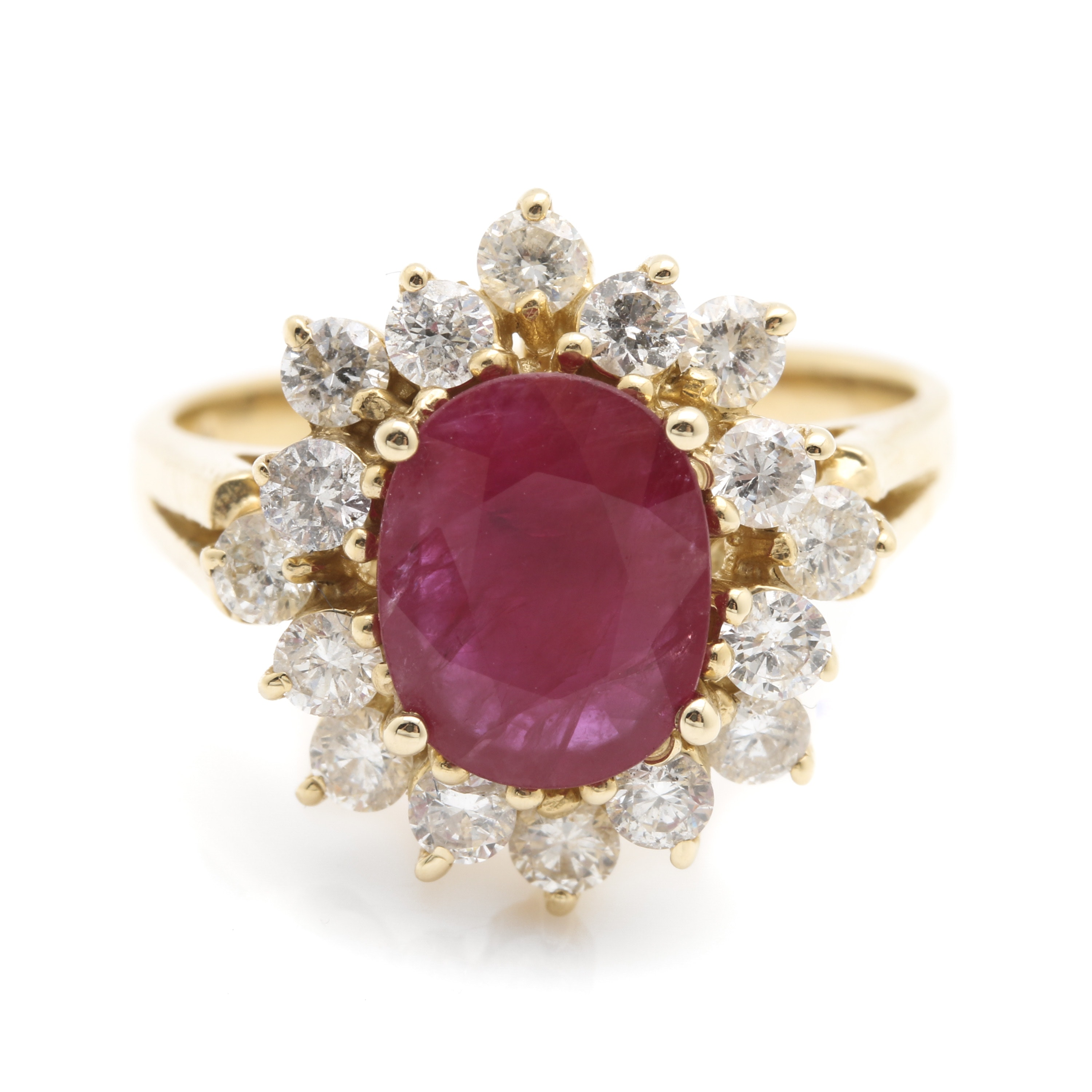 14K Yellow Gold 1.04 CT Ruby and 0.96 CTW Diamond Ring