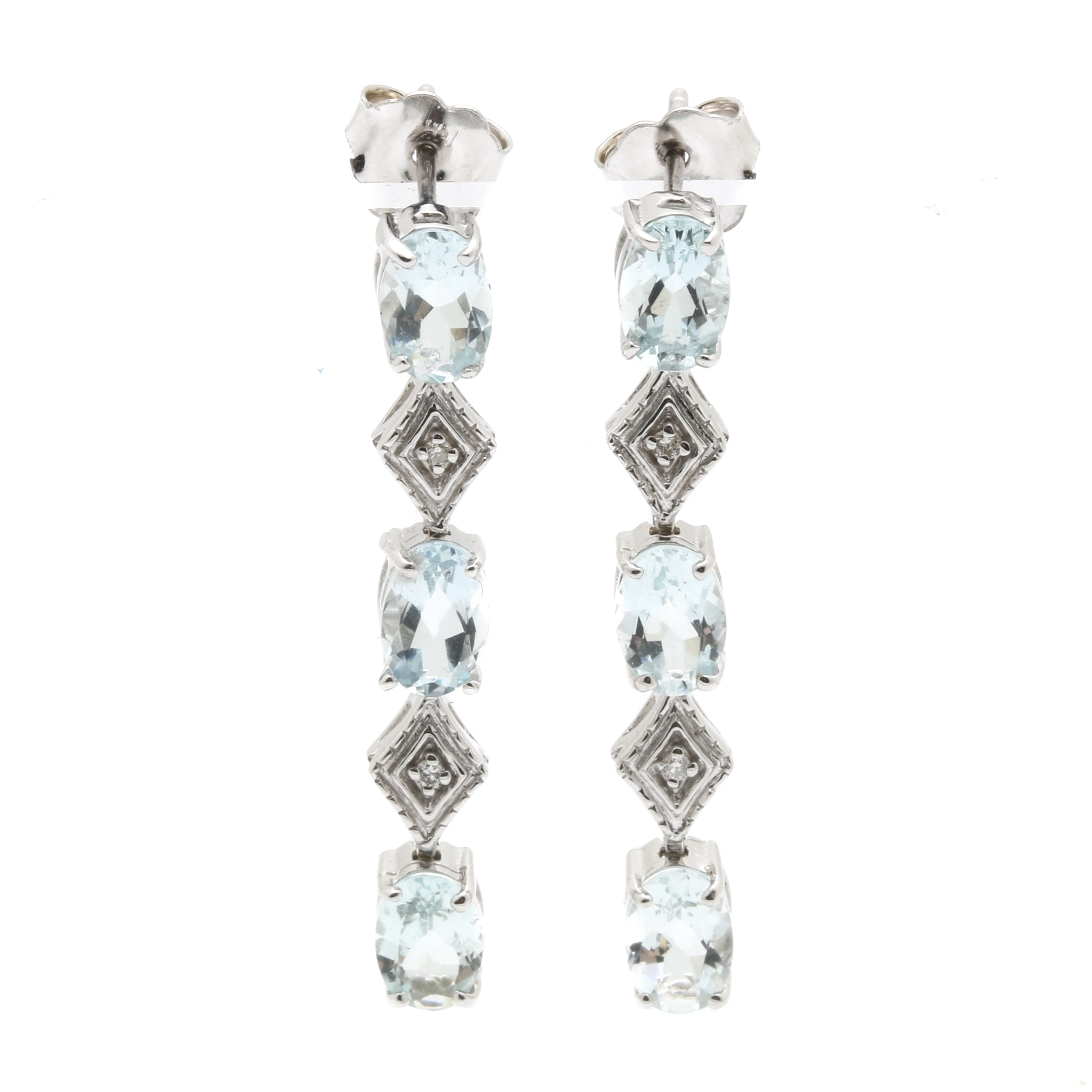 14K White Gold Aquamarine and Diamond Dangle Earrings