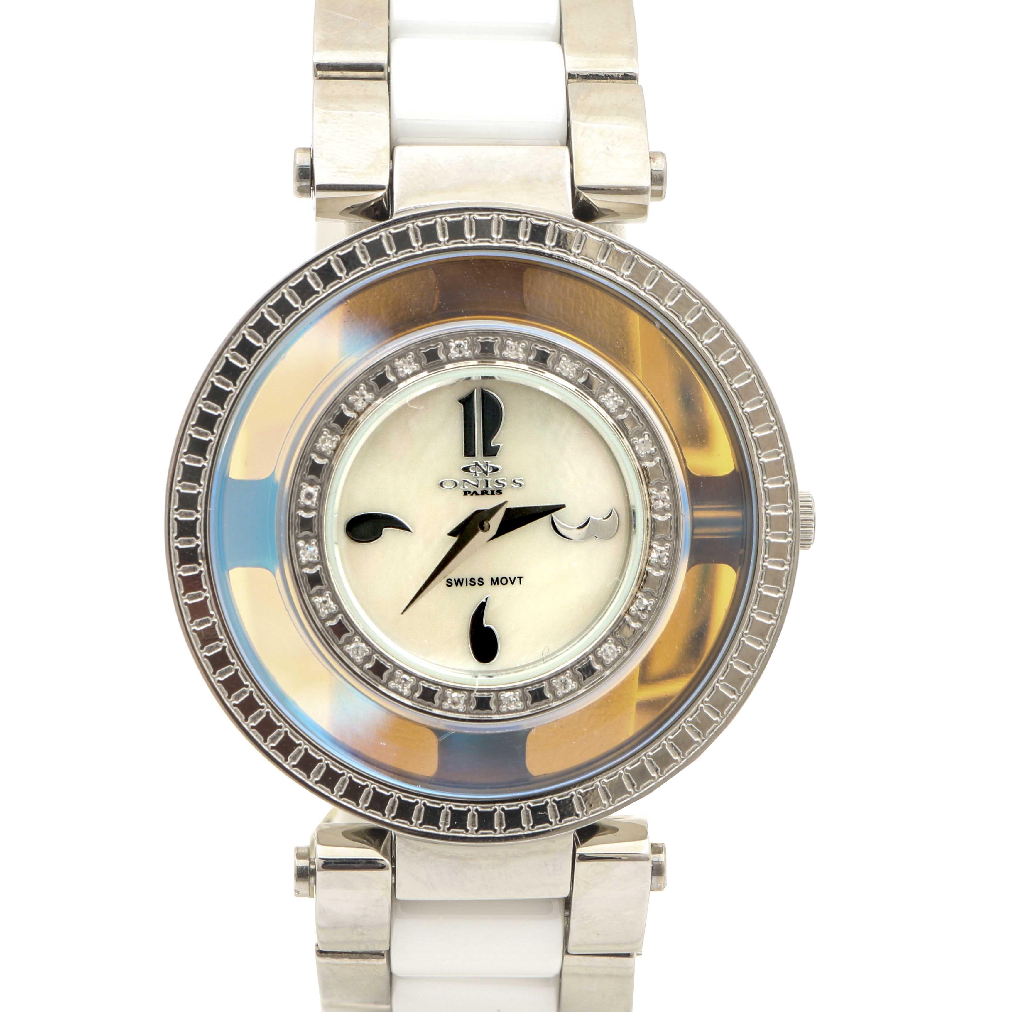 Oniss Paris Silver Tone Diamond Wristwatch