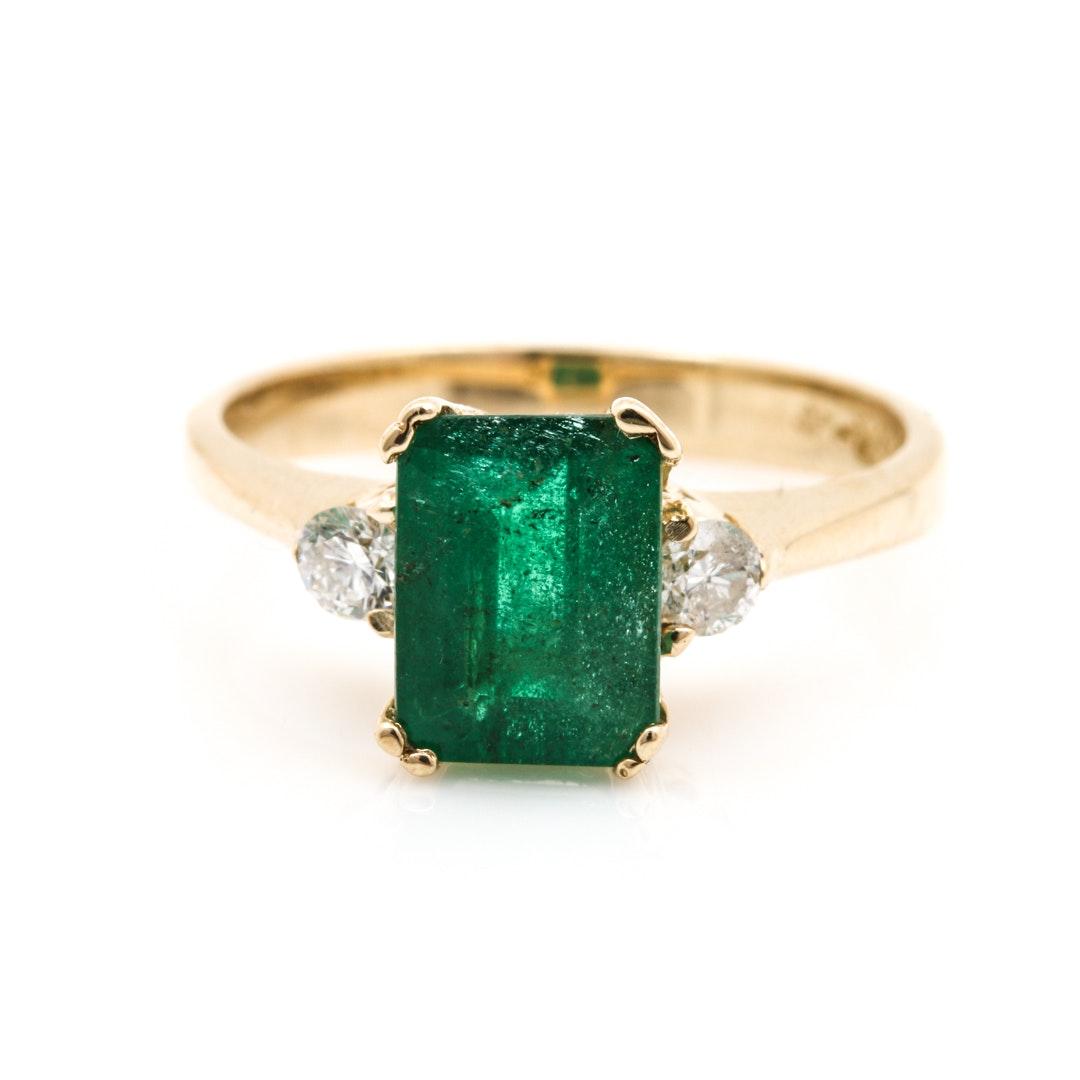 14K Yellow Gold 1.62 CT Emerald and Diamond Ring
