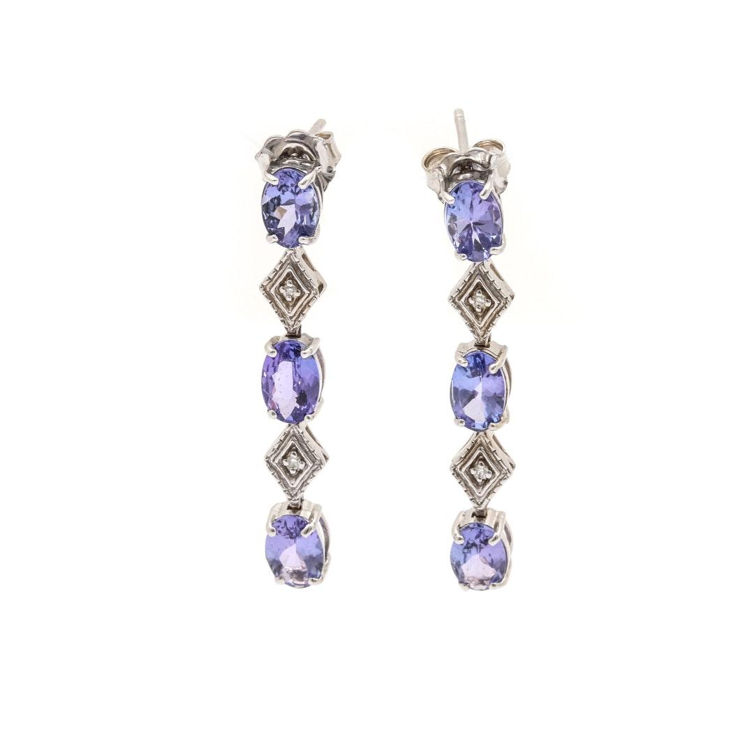 14K White Gold 2.50 CTW Tanzanite and Diamond Dangle Earrings