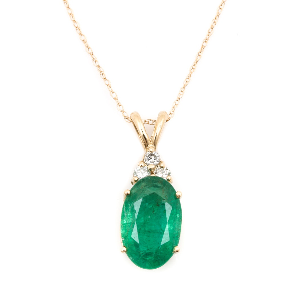 14K Yellow Gold 2.38 CT Emerald and Diamond Necklace