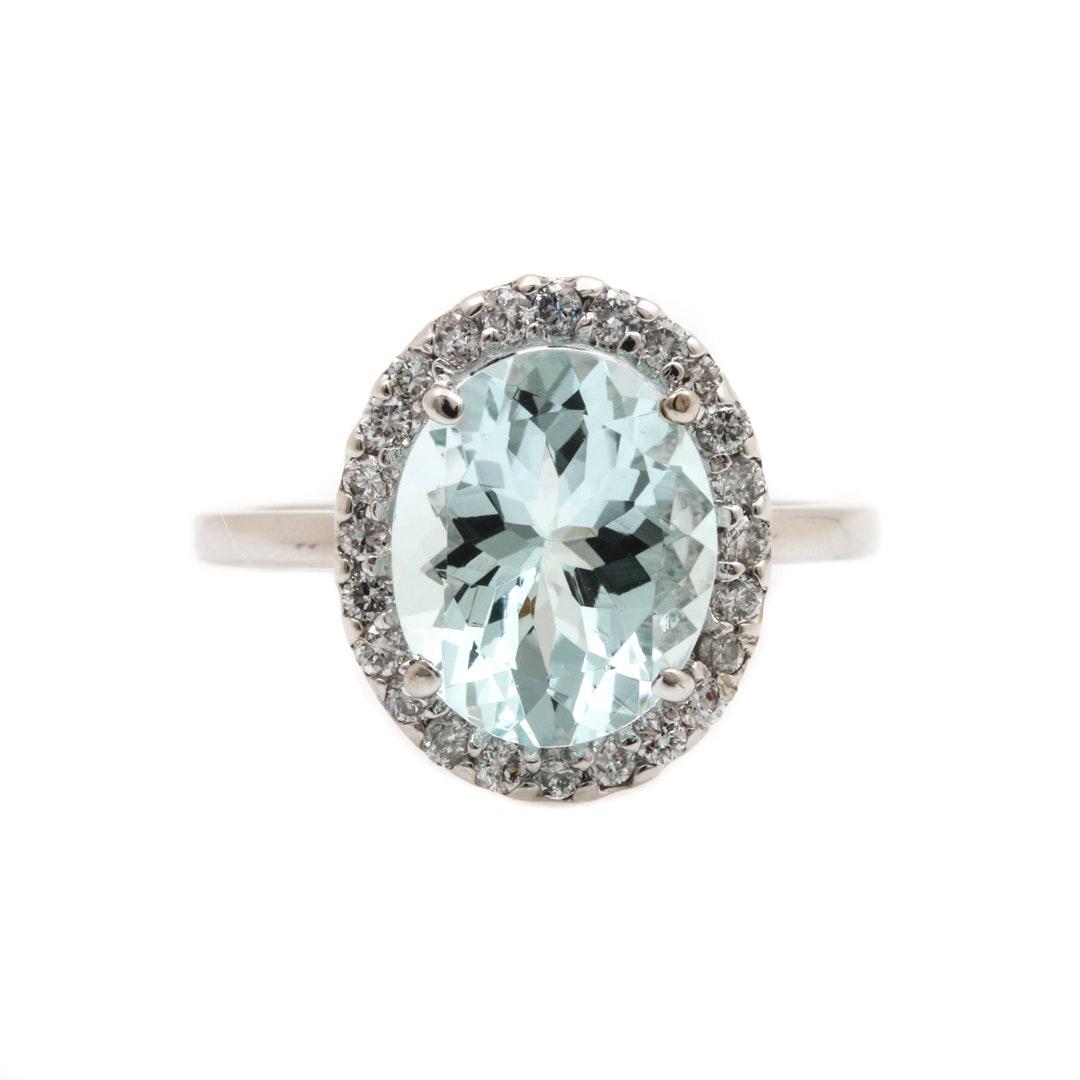 14K White Gold 3.17 CT Aquamarine and Diamond Ring