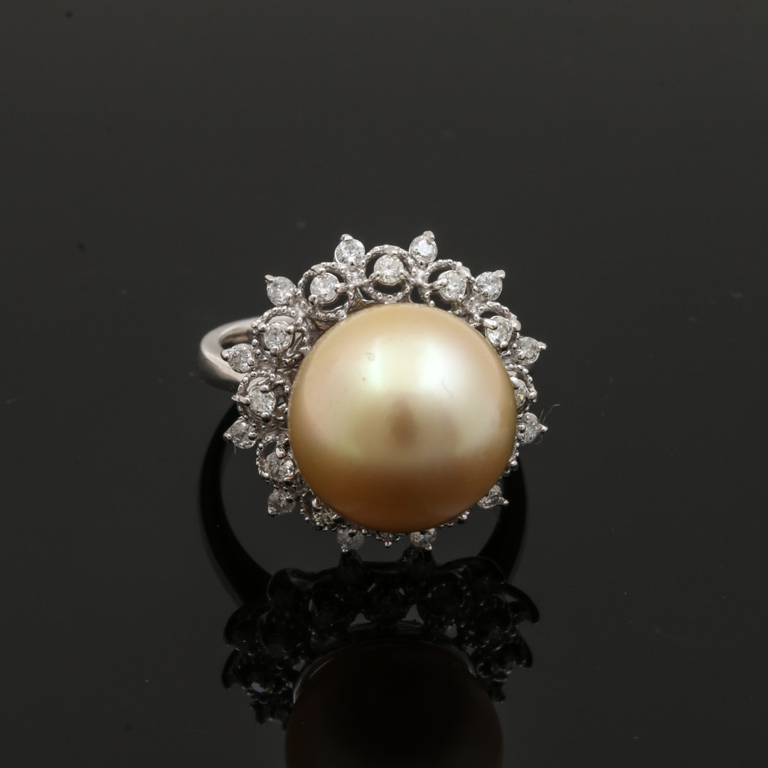 14K White Gold Cultured South Sea Pearl and Diamond Cocktail Ring