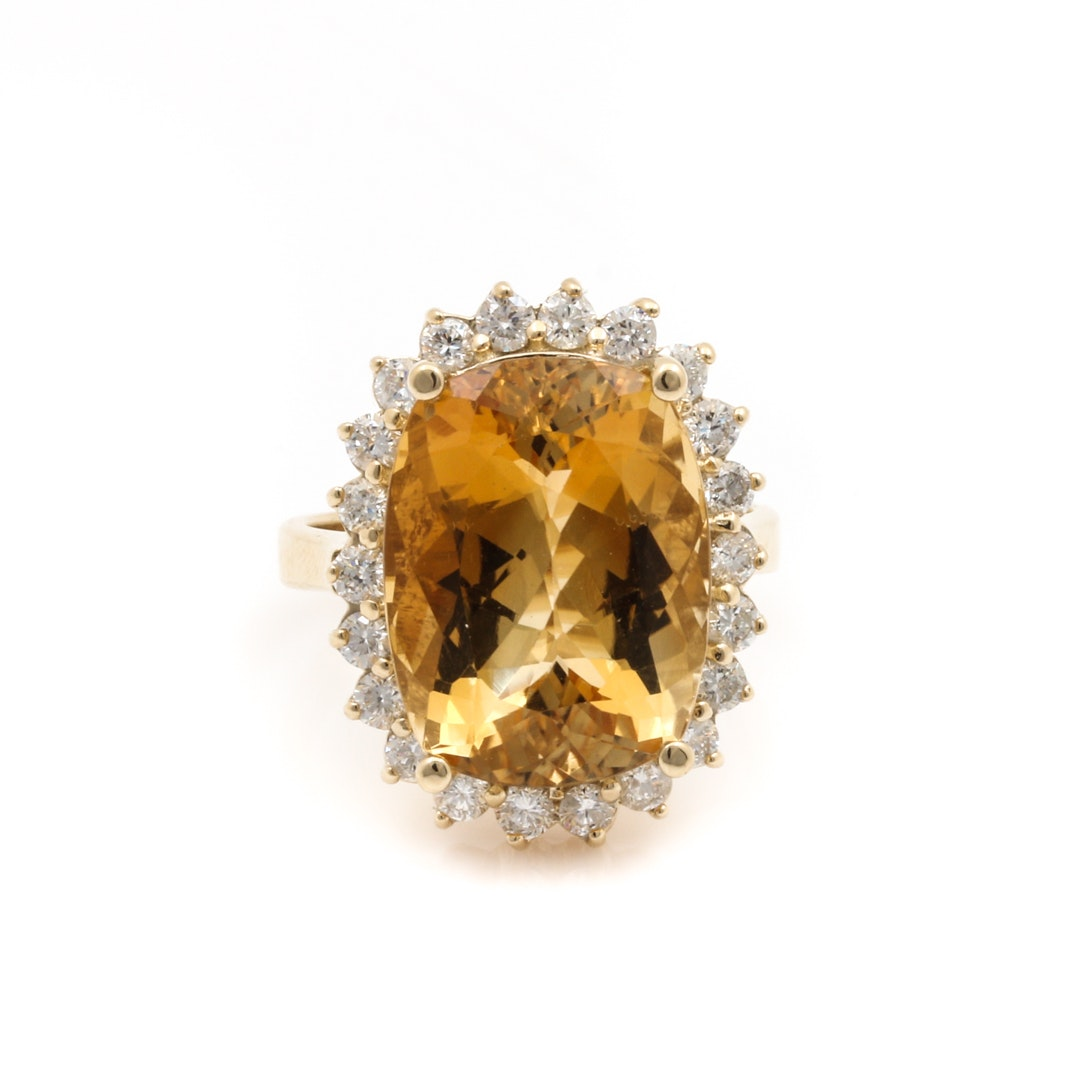 14K Yellow Gold 10.47 CT Citrine and Diamond Cocktail Ring