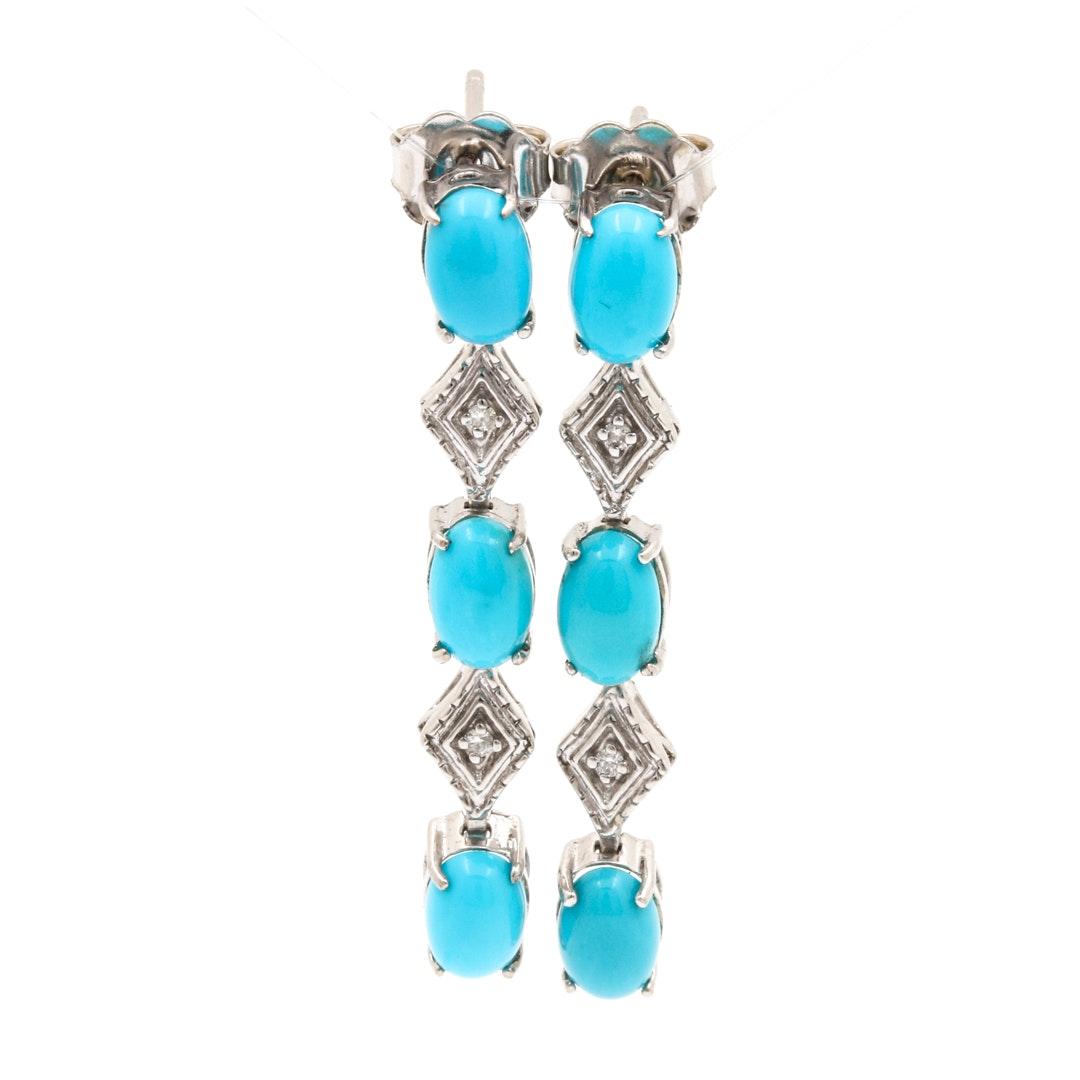 14K White Gold Turquoise and Diamond Dangle Earrings
