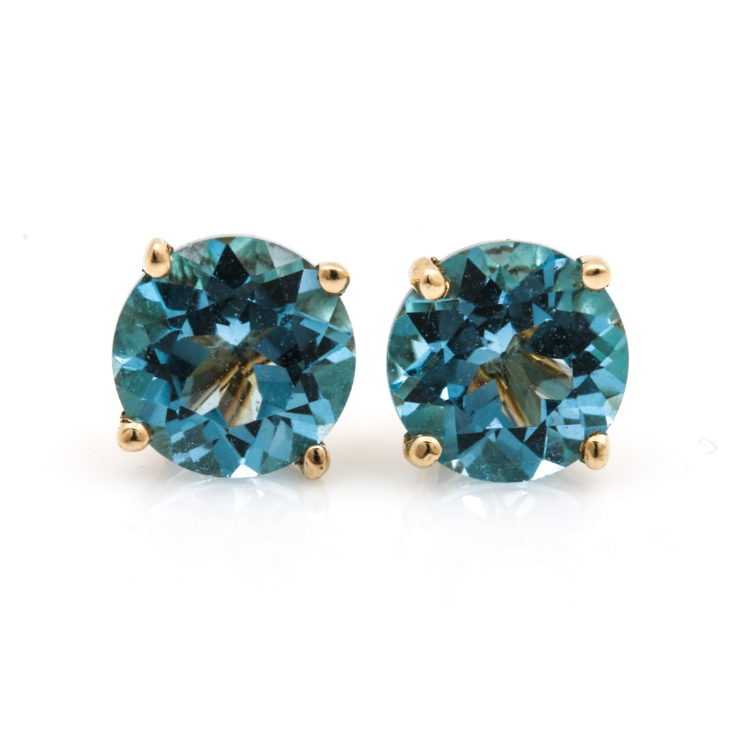 14K Yellow Gold Blue Topaz Stud Earrings