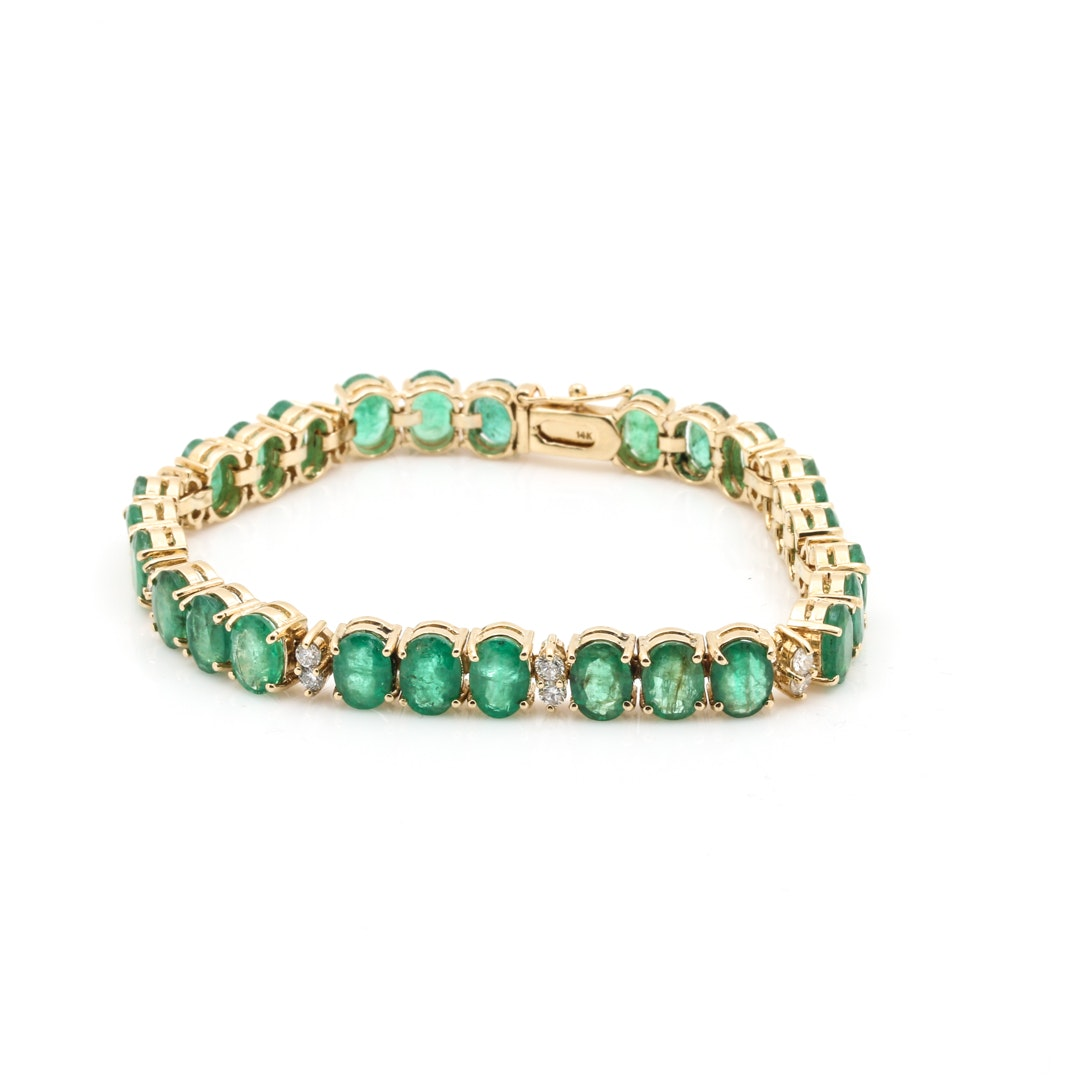 14K Yellow Gold Emerald and Diamond Link Bracelet
