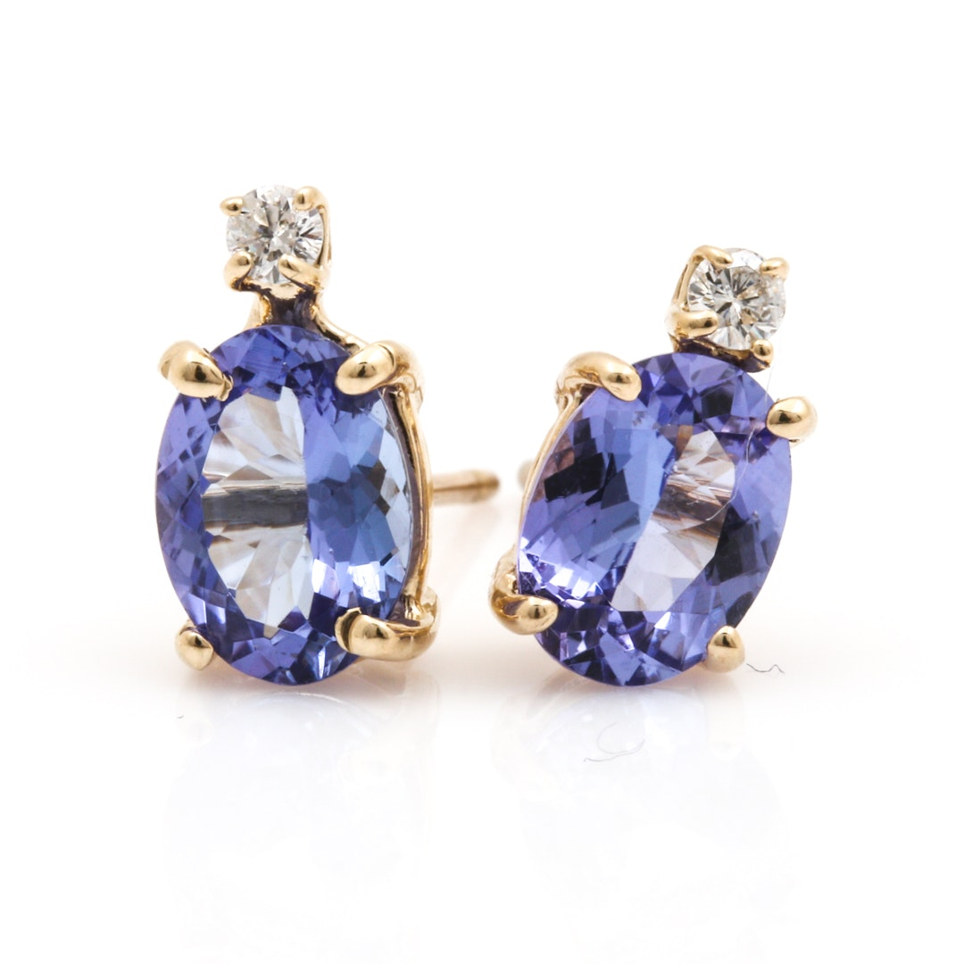14K Yellow Gold Tanzanite and Diamond Stud Earrings